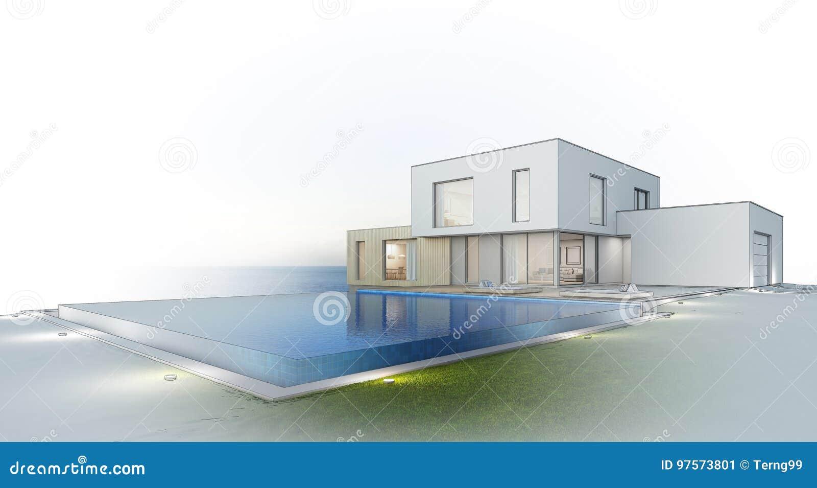 Luxusstrandhaus Mit Seeansicht-Swimmingpool Und Terrasse Im ...