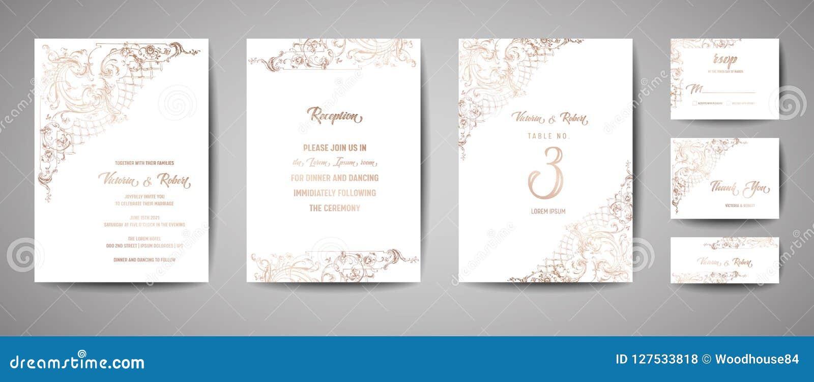 Luxusweinlese-Hochzeits-Abwehr das Datum, Einladung kardiert Sammlung mit Goldfolien-Rahmen und Kranz modische Abdeckung, Grafik