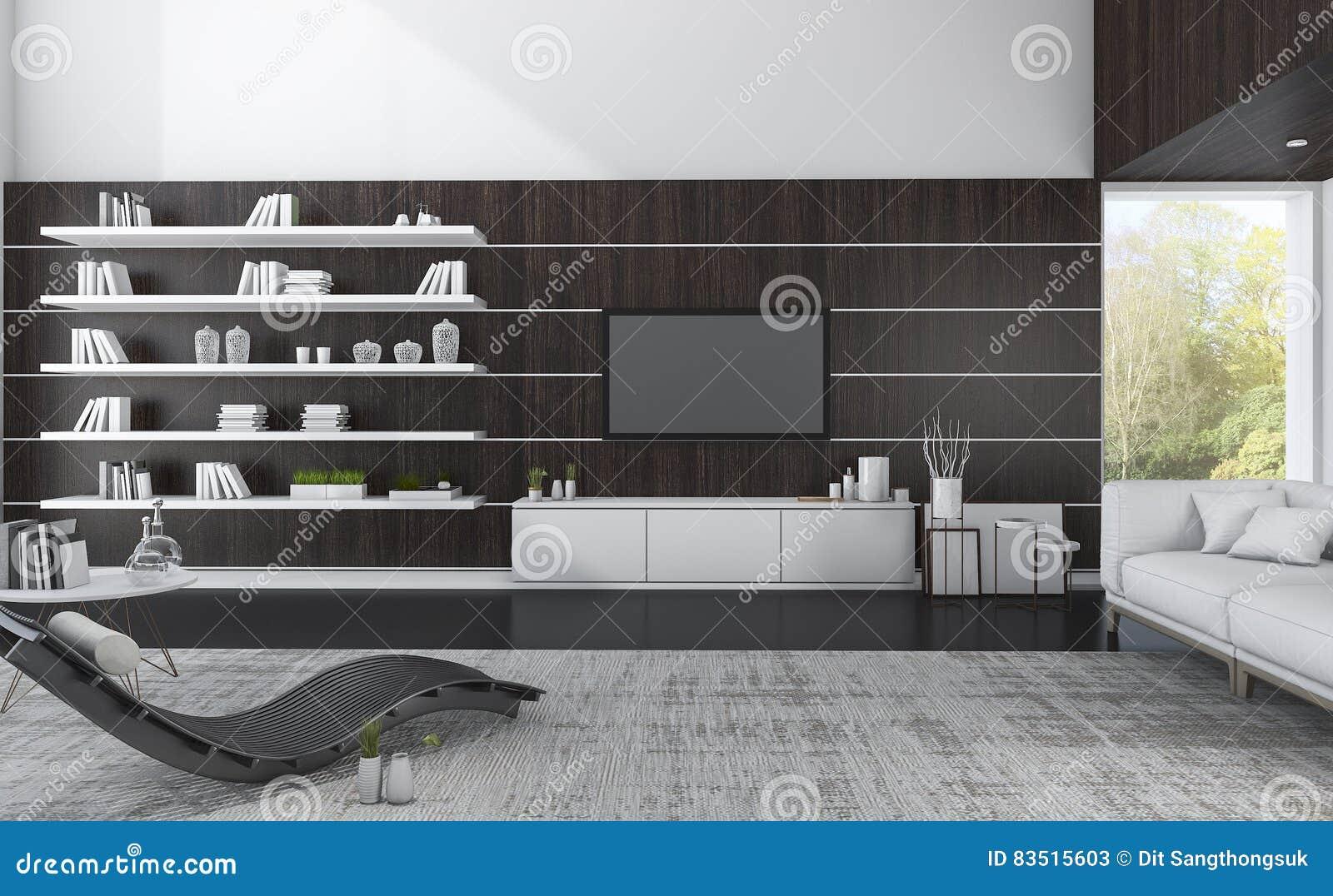 Luxuswohnzimmer Der Wiedergabe 3d Mit Dunklem Holz Und Schoner