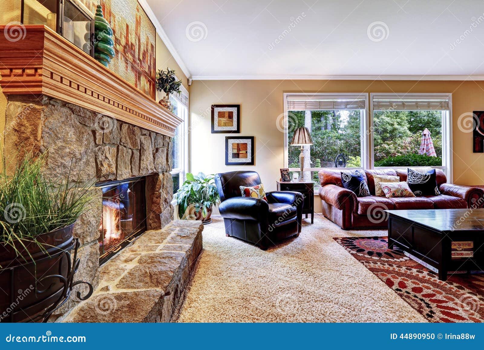 Luxus Wohnzimmer Mit Kamin