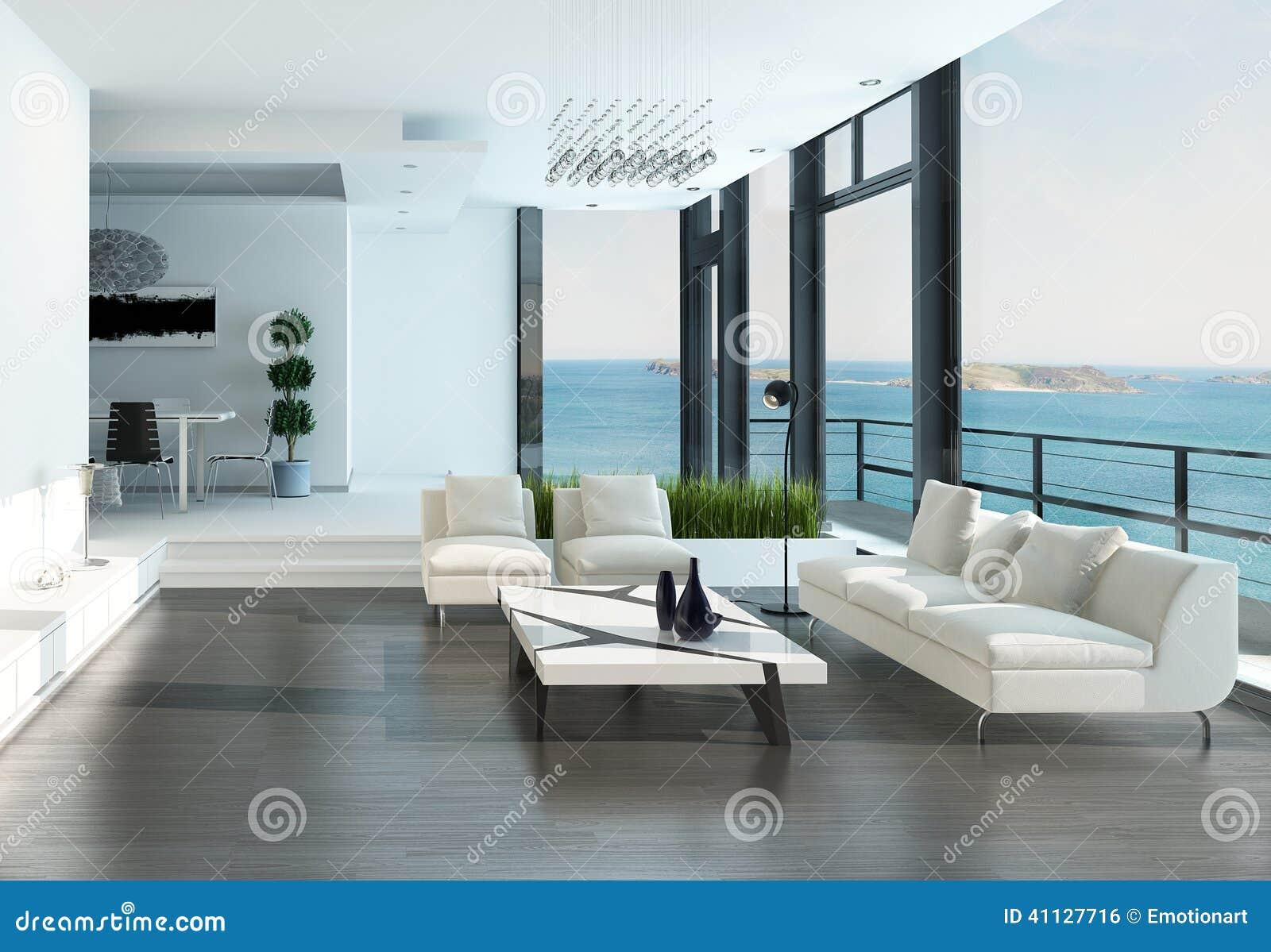 Luxuswohnzimmerinnenraum mit weißer Couch- und Meerblickansicht