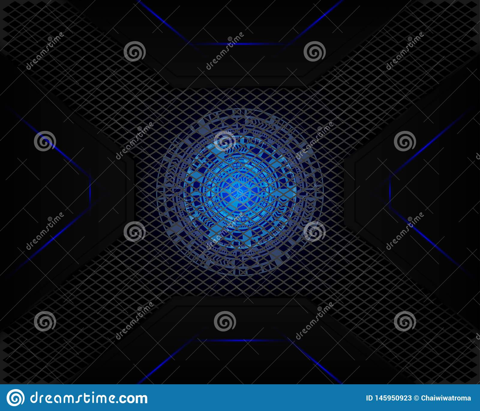 Luz azul de la tecnología en la sombra de la malla gris oscuro como fondo