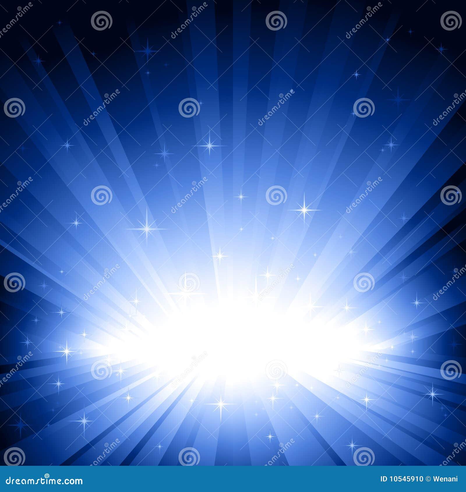 Luz azul repartida con las estrellas
