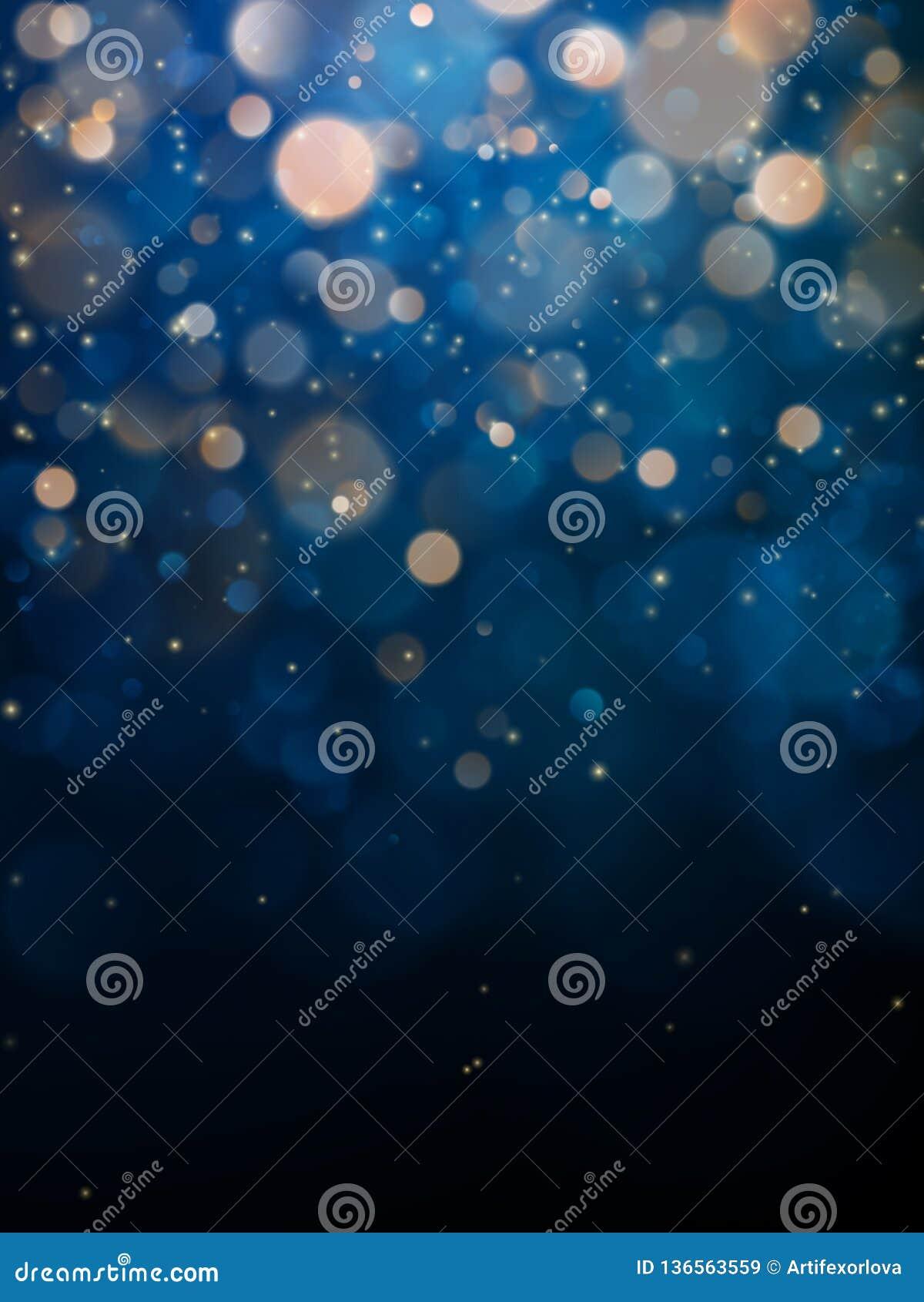 Luz borrosa del bokeh en fondo azul marino Plantilla de los días de fiesta de la Navidad y del Año Nuevo Brillo abstracto Defocus