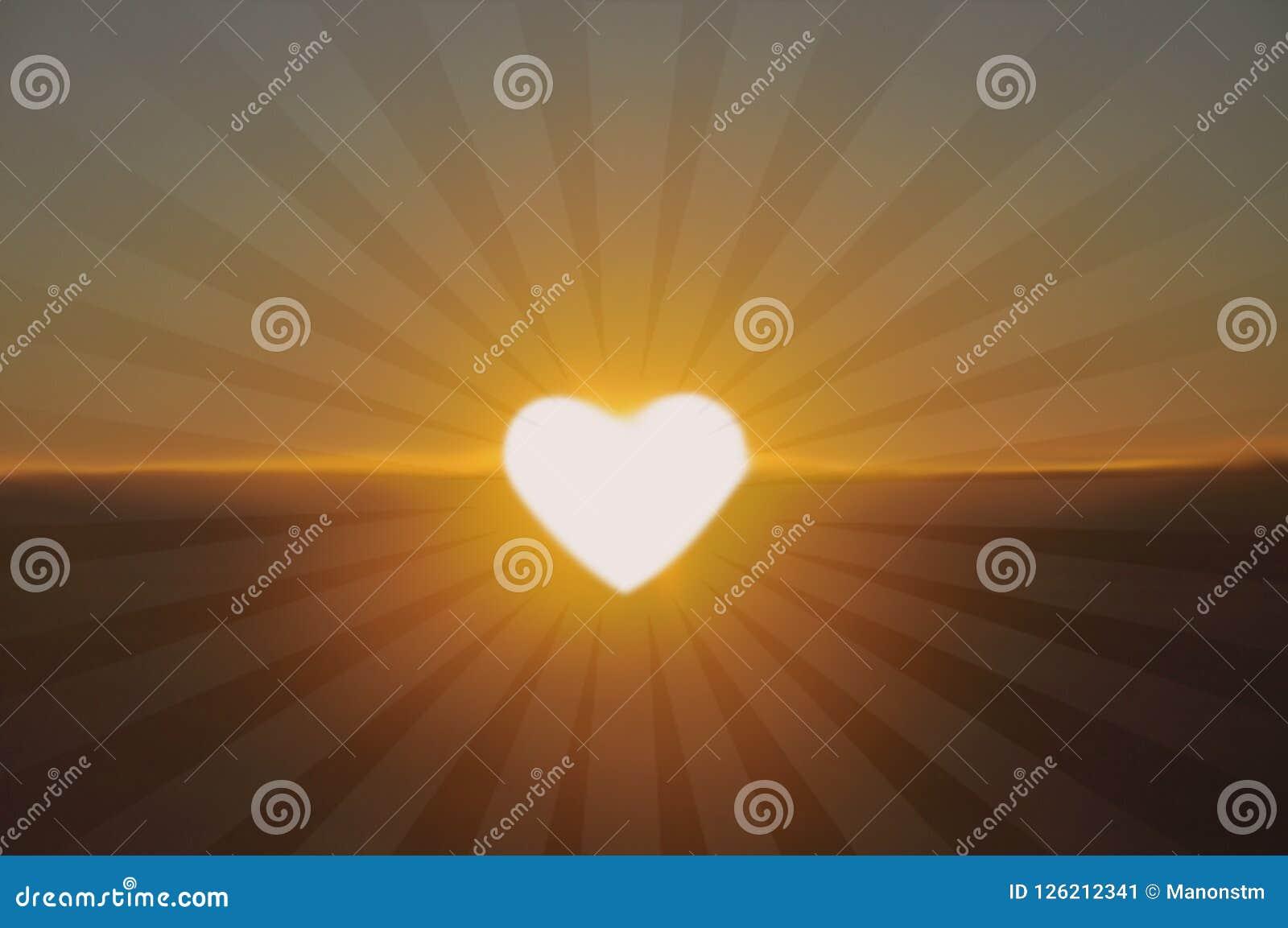 Luz brilhante na forma de um coração, coeur de lumière