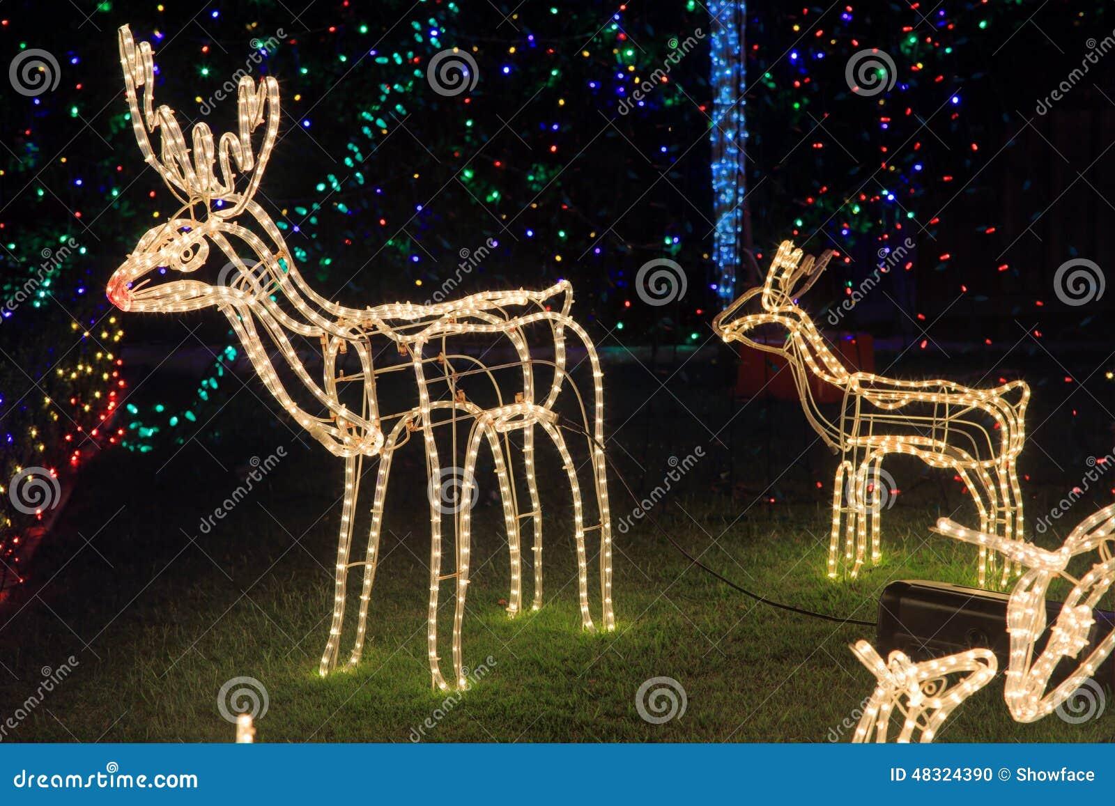 Luz brillante de las decoraciones de la navidad del reno - Renos de navidad con luces ...