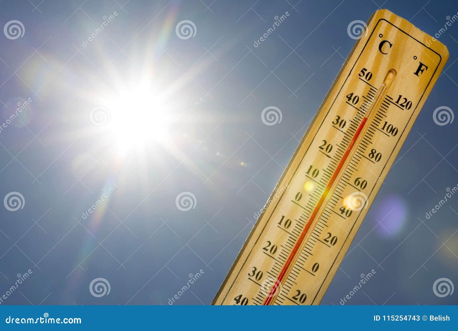 Luz de Sun del calor del verano del termómetro de Mercury