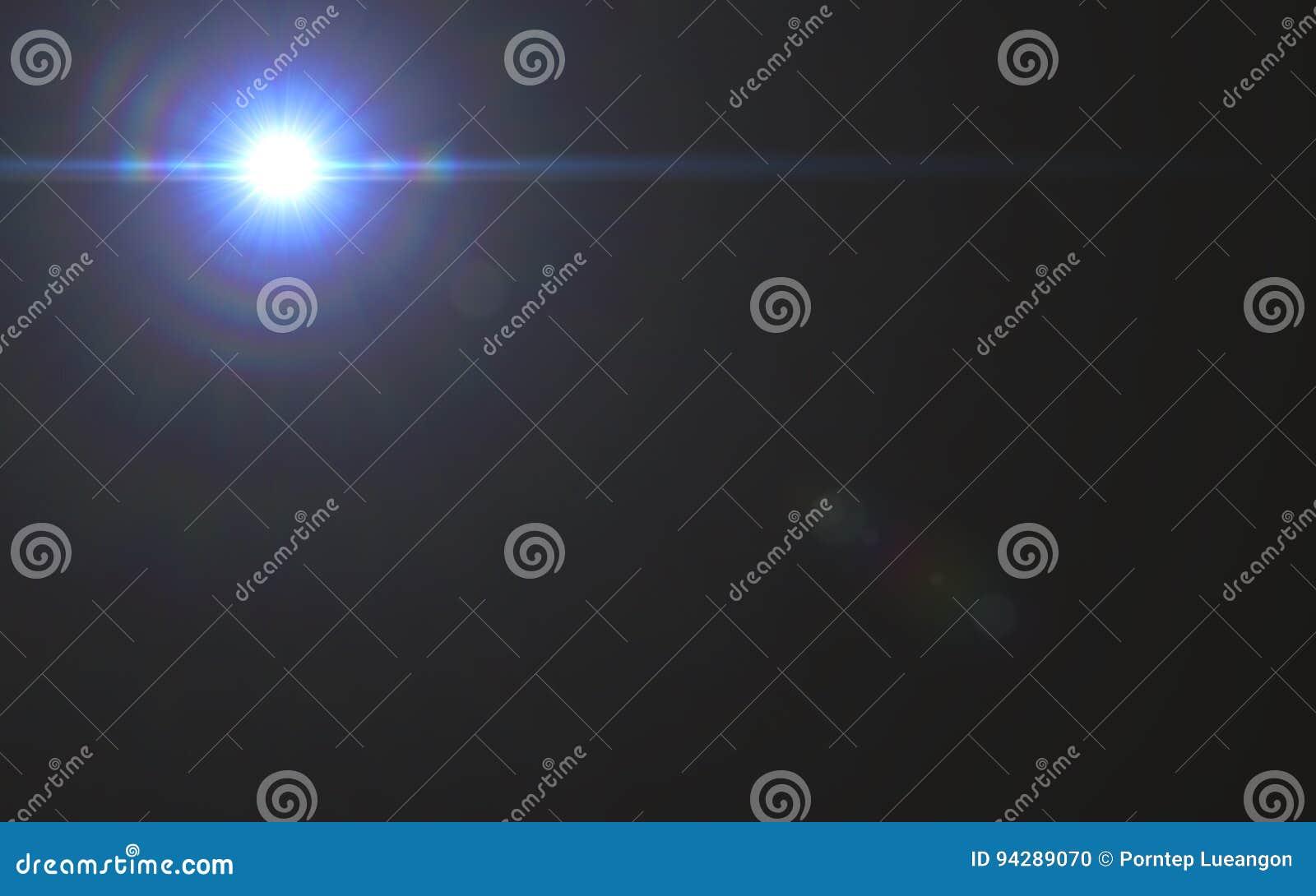 Luz do alargamento da lente sobre o fundo preto