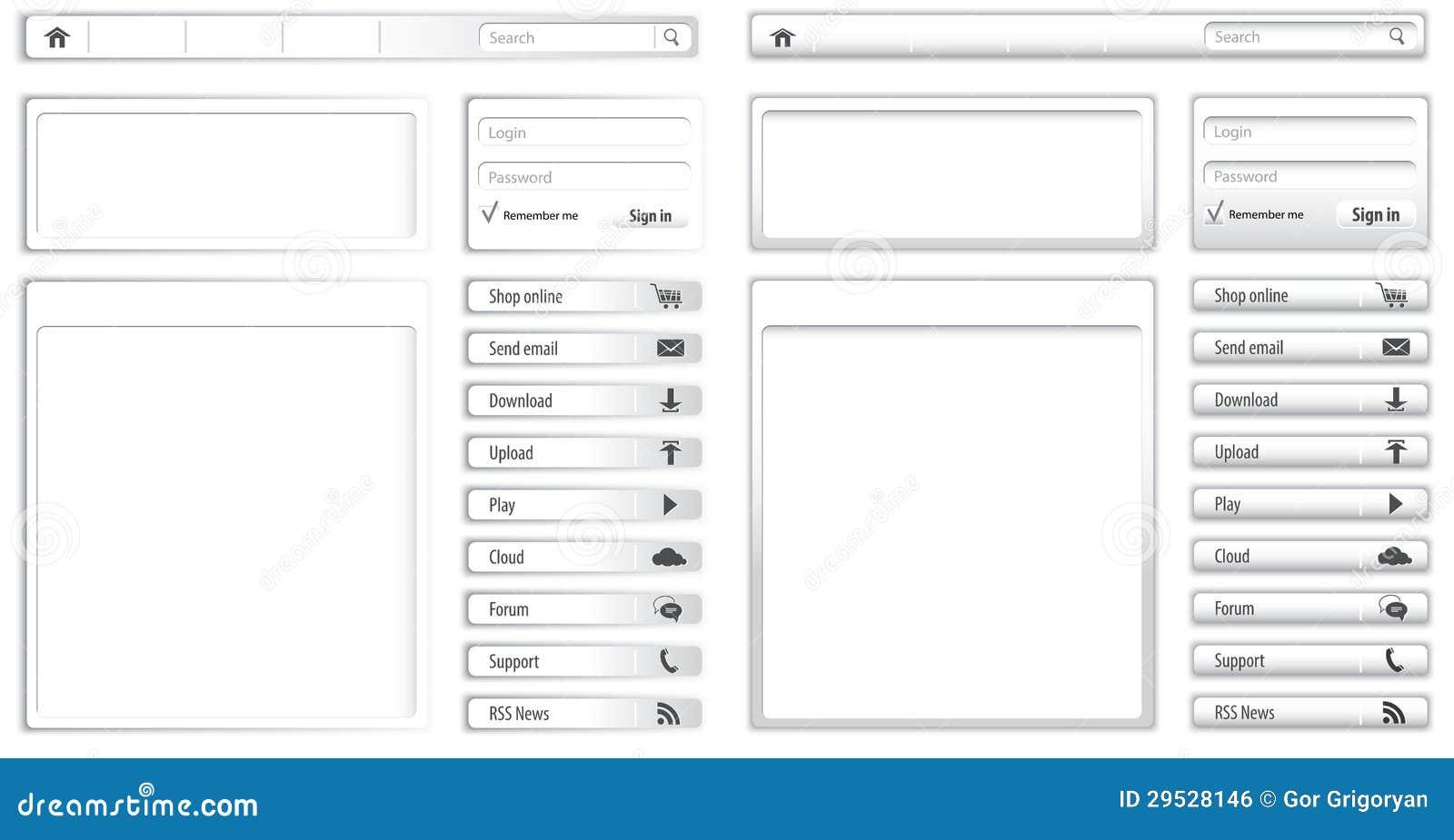 Luz do Web site - elementos e módulos cinzentos