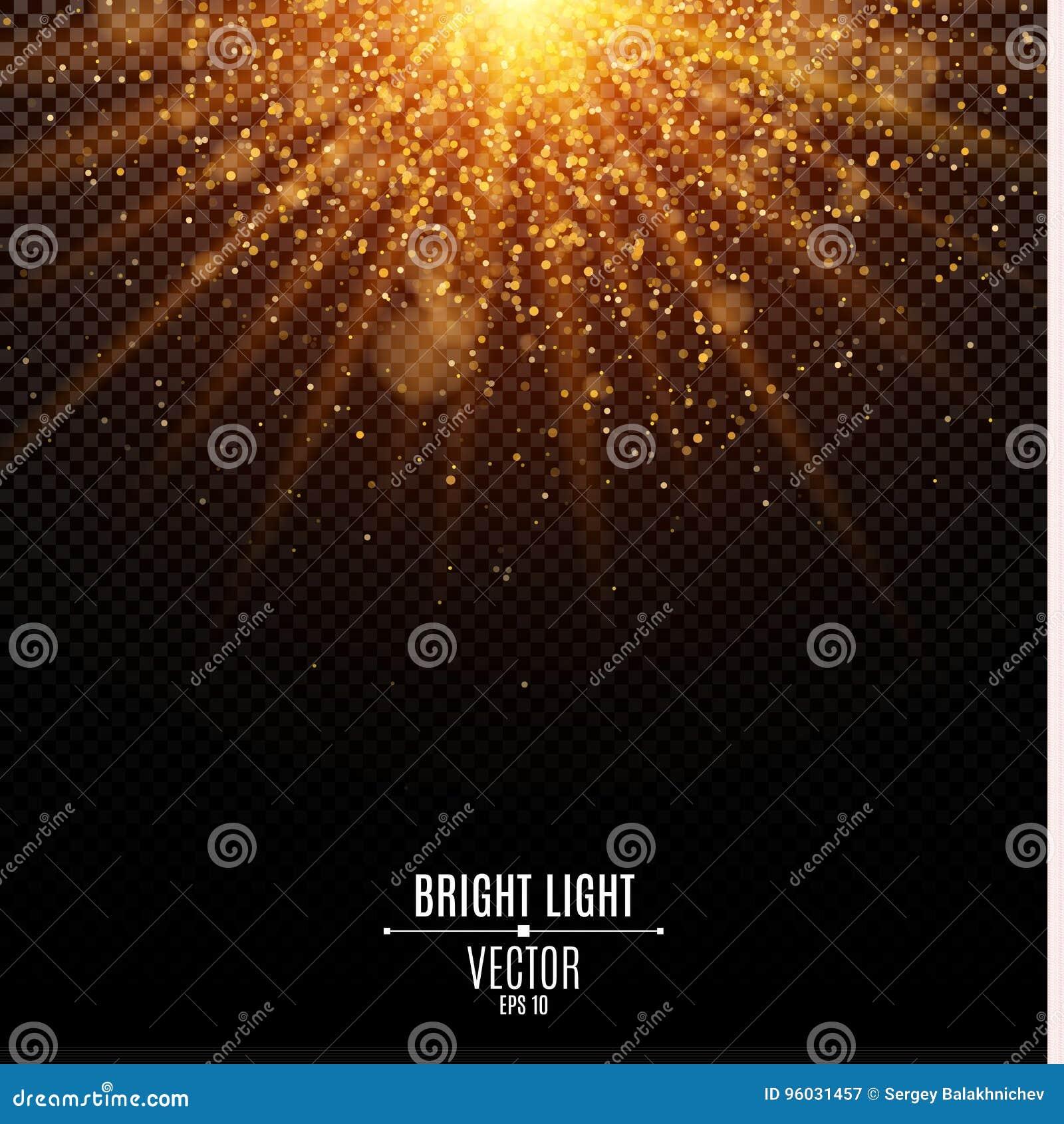 Luz dourada do Natal brilhante Luz instantânea Luzes alaranjadas e raios de luz abstratos Areia do ouro Fundo festivo Bokeh do br