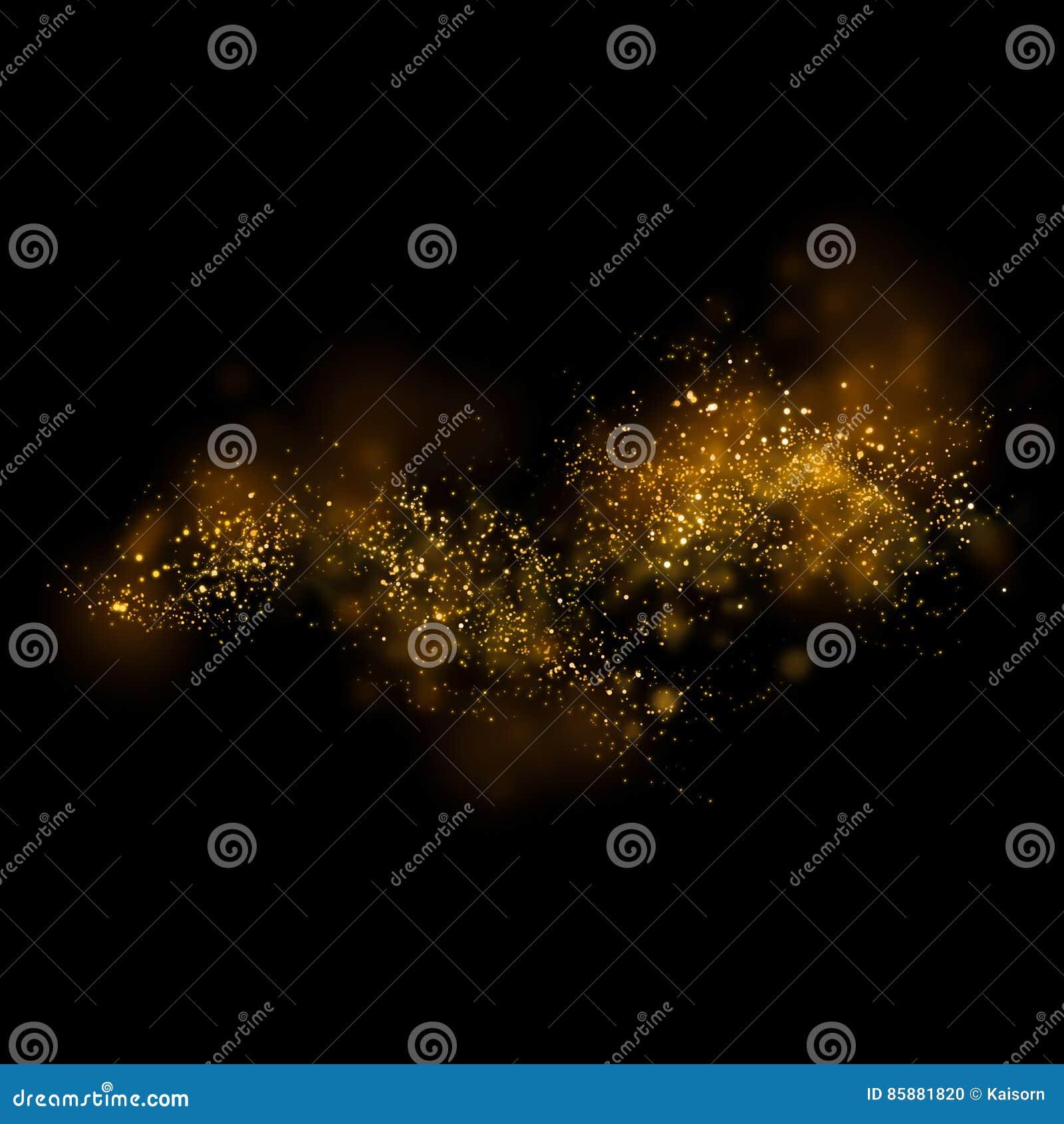 Luz e bokeh de brilho da estrela do ouro Backgro mágico do sumário da poeira