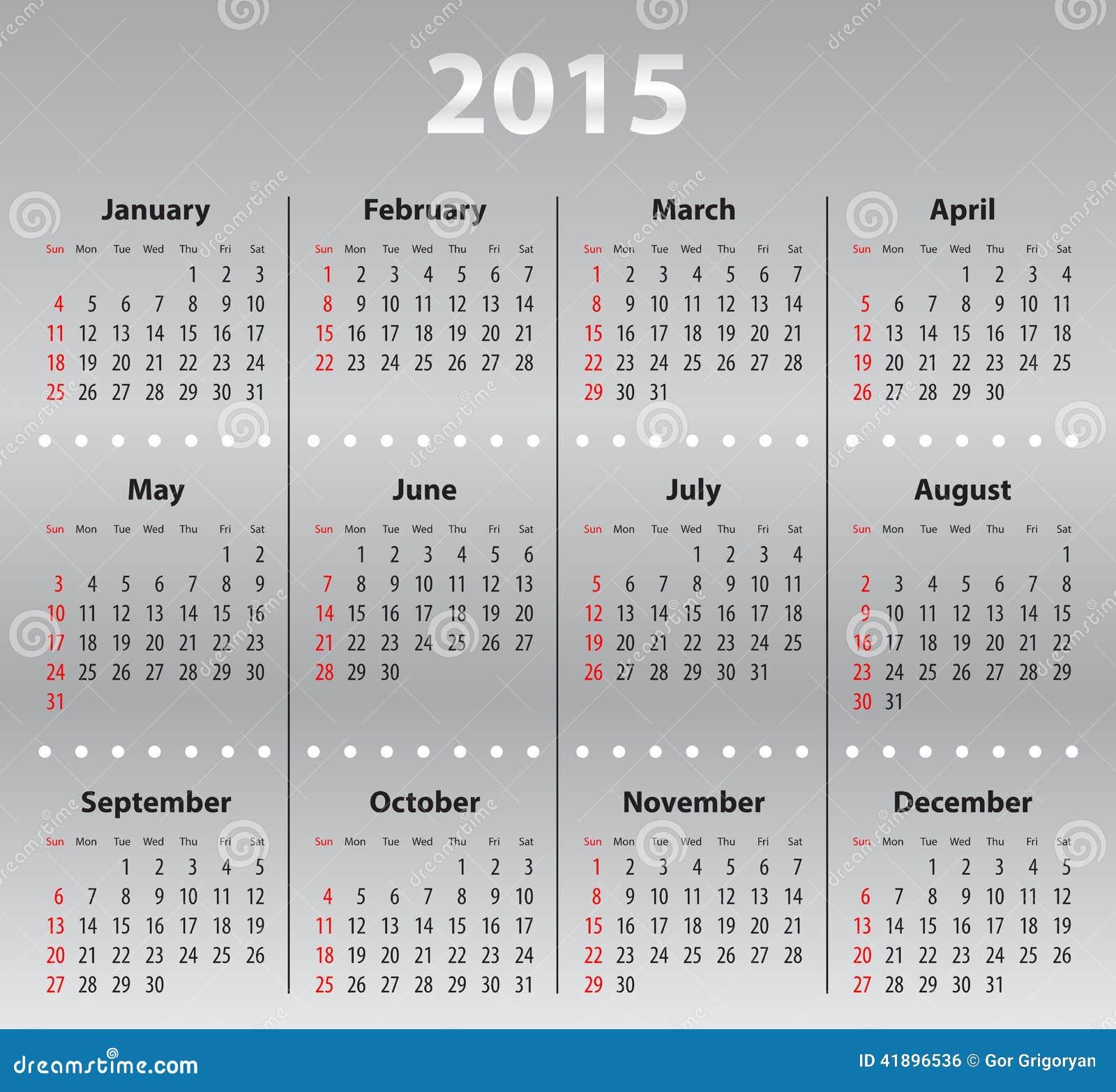 Luz - Grade Cinzenta Do Calendário Para 2015 Foto de Stock - Imagem ...