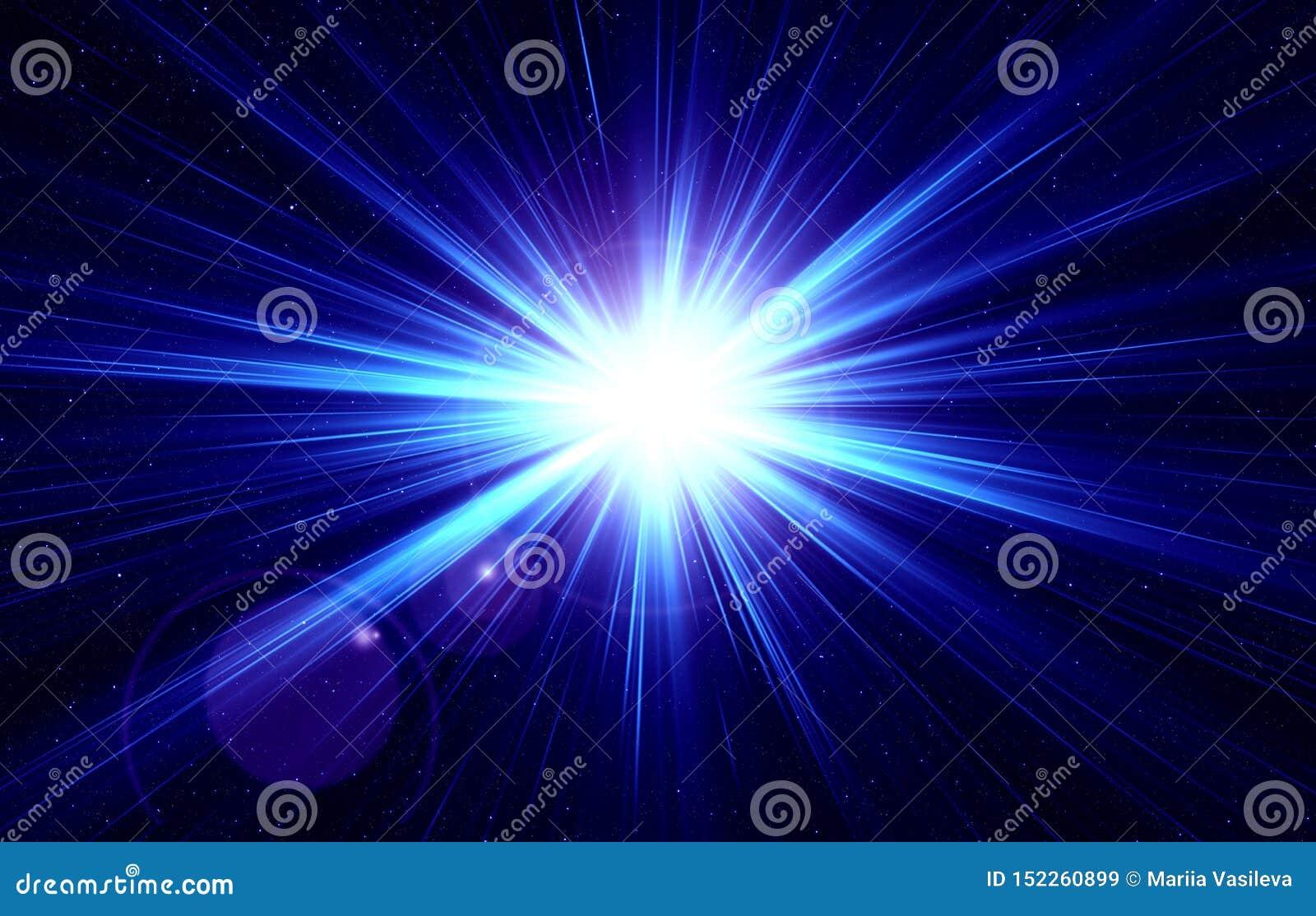 Luz instantânea no céu estrelado, estrela estourada, luz azul, céu estrelado da noite, espaço, estrela, efeito da luz, noite, abs