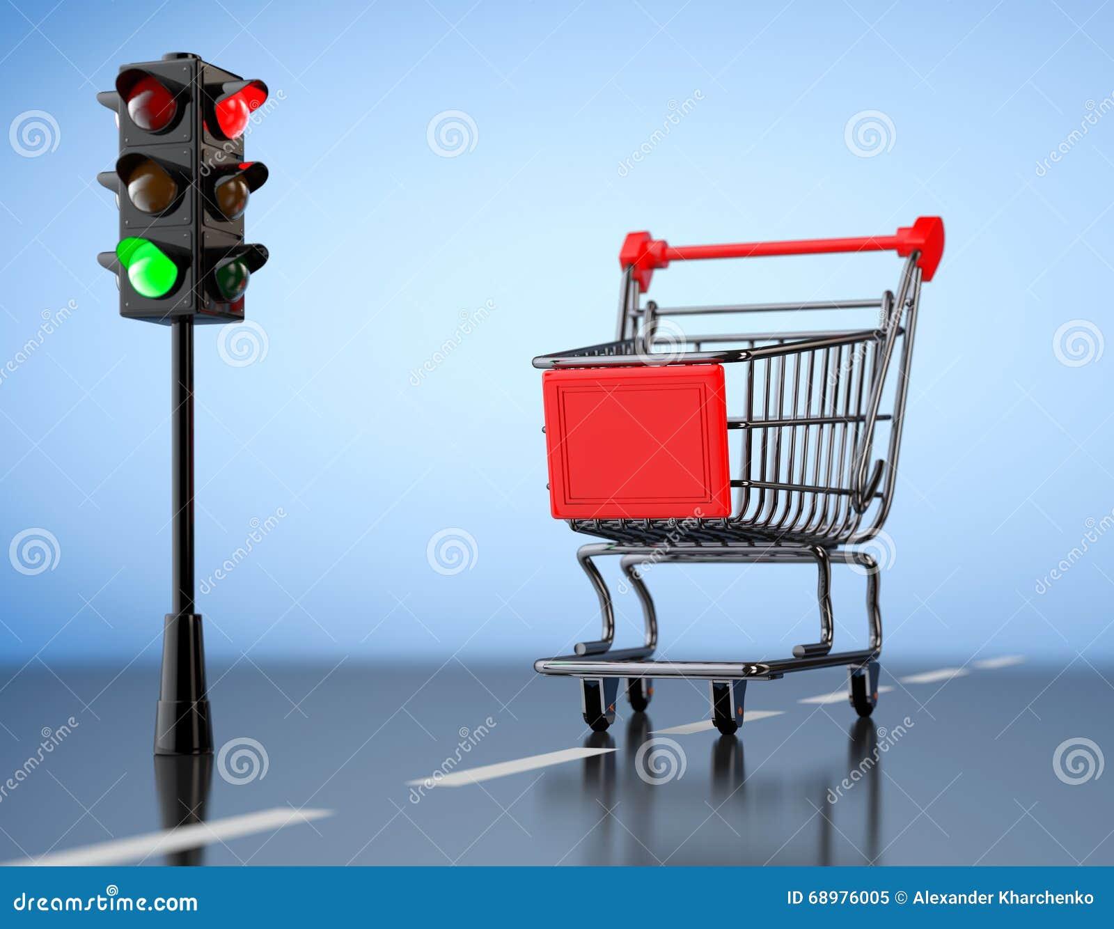 Luz verde para hacer compras Carro de la compra con el semáforo