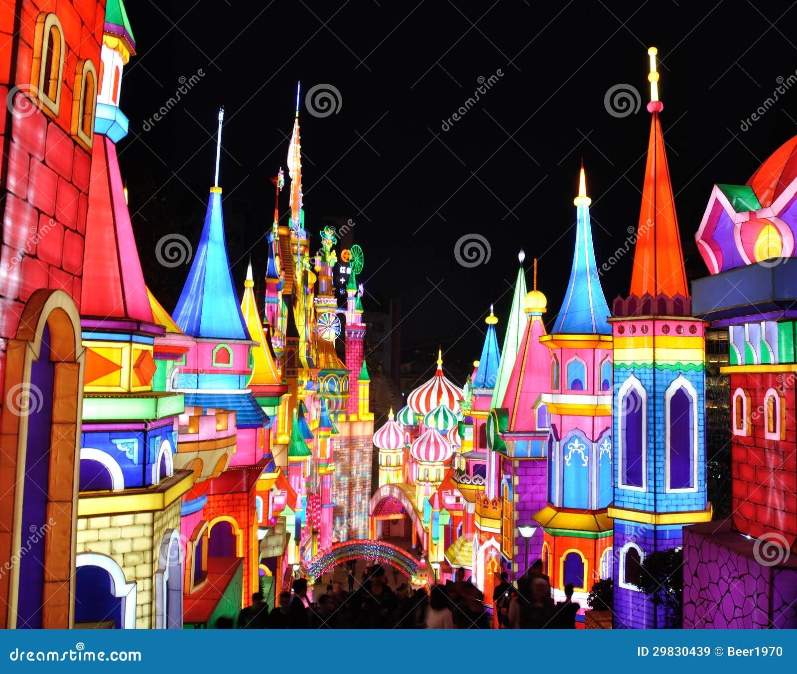 Luzes coloridas do castelo