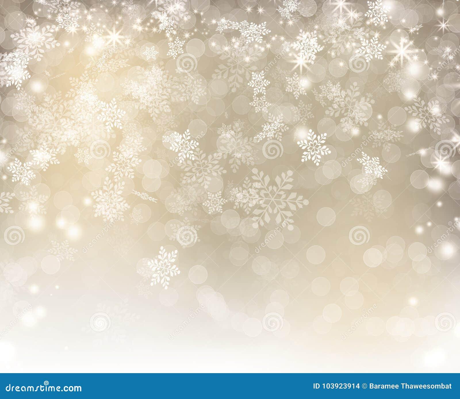 Luzes de prata decoradas com o floco de neve branco do bokeh e o Natal das estrelas