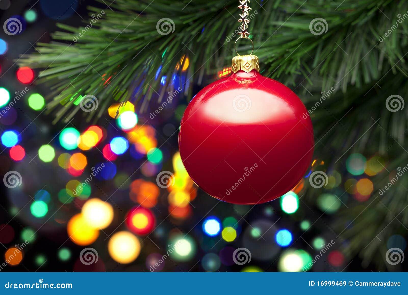 Luzes e ornamento da árvore de Natal
