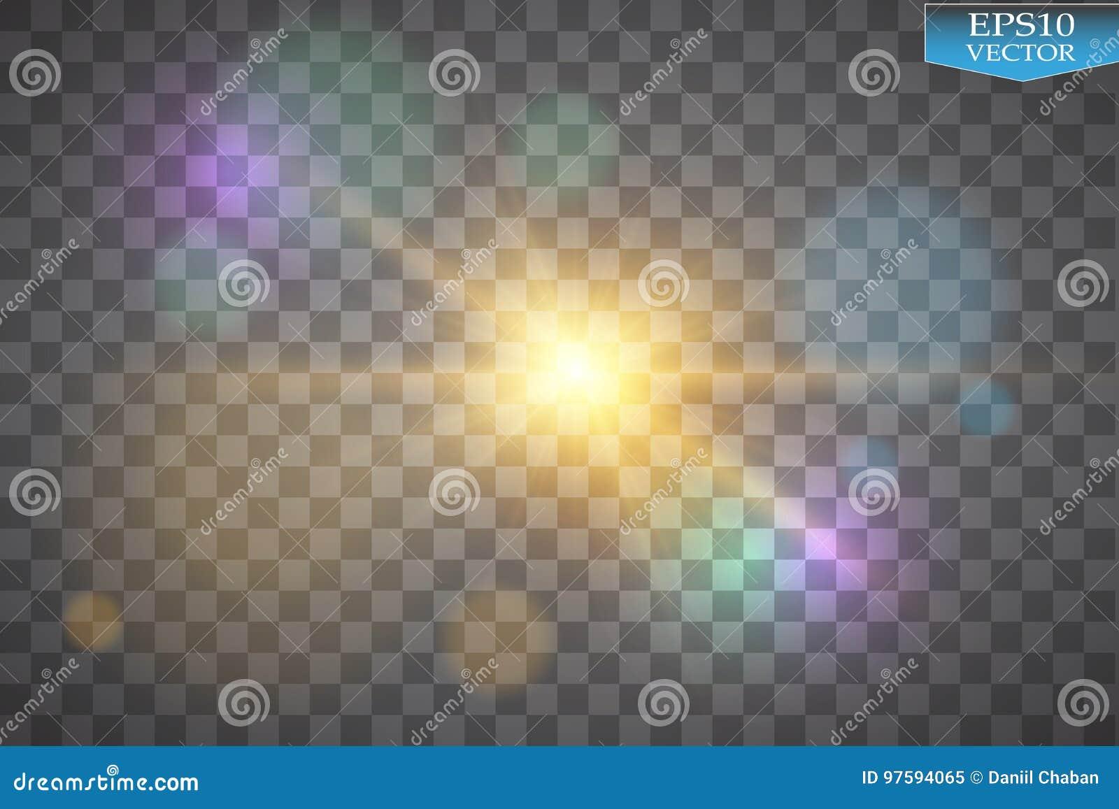 Luzes no fundo transparente Ilustração branca do sumário da onda do brilho do vetor Efervescência branca da fuga da poeira de est