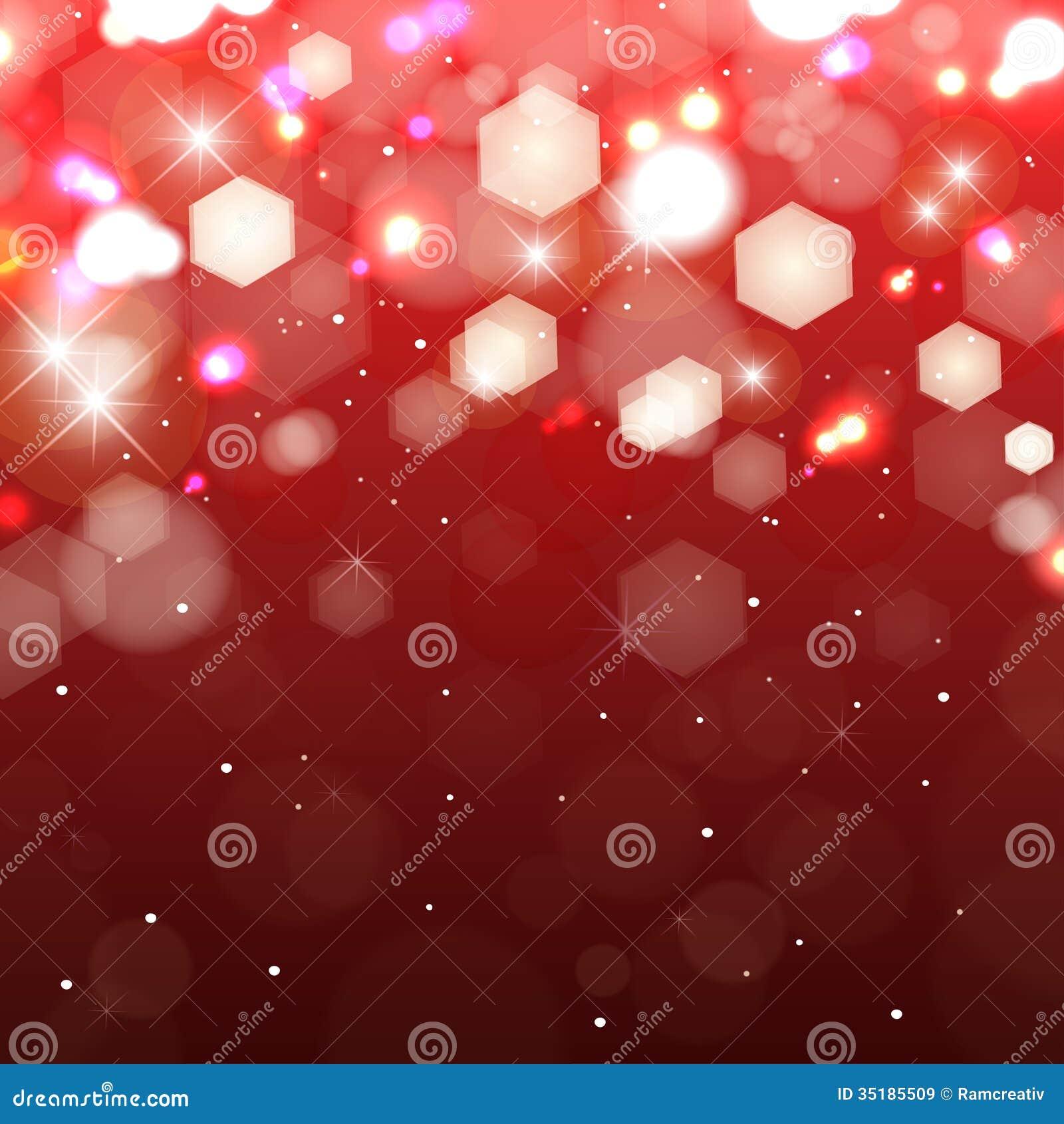 Luzes no fundo vermelho. Vislumbrando a luz colorida
