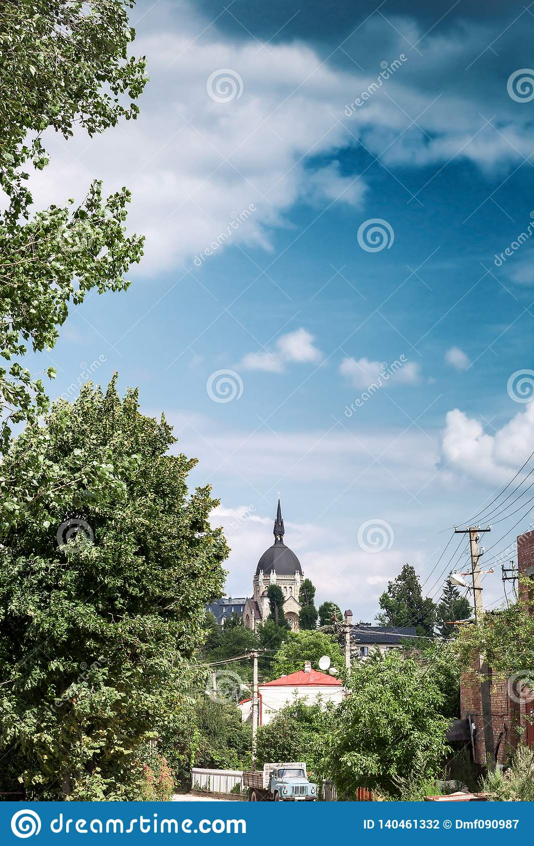 Lviv cityscape and christian Church of ascension of lord