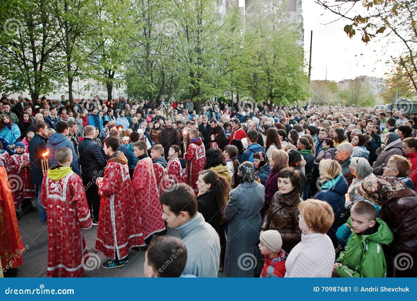 LVIV UKRAINA - APRIL 27, 2016: Passion för helig vecka och död av J