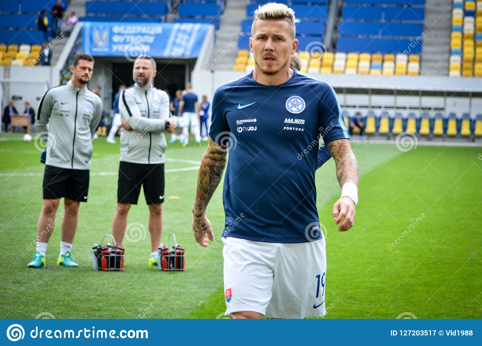 Lviv , Ukraine - August 10, 2018: Juraj Kucka during group selection of the UEFA Nations League between the national teams