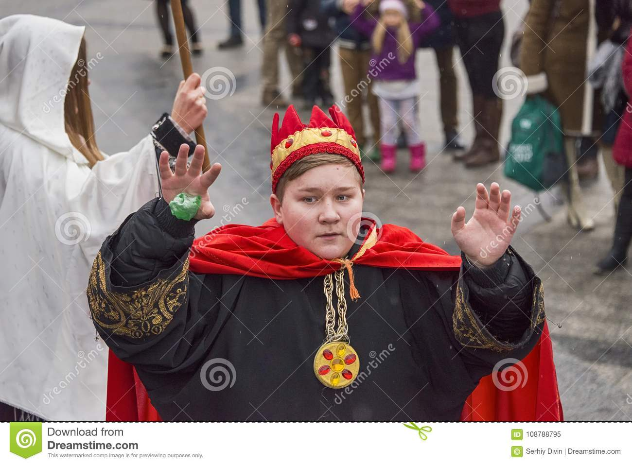 Unknown Young Actor In Role King Plays For The Citizens In A Christmas Performance Editorial ...