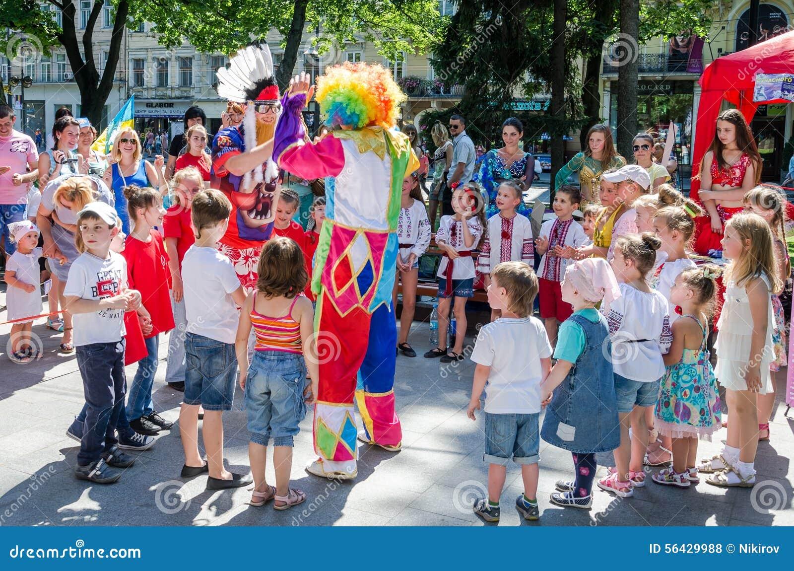 Lviv, Ukraine - July 2015: Yarych Street Fest 2015. Clown ...