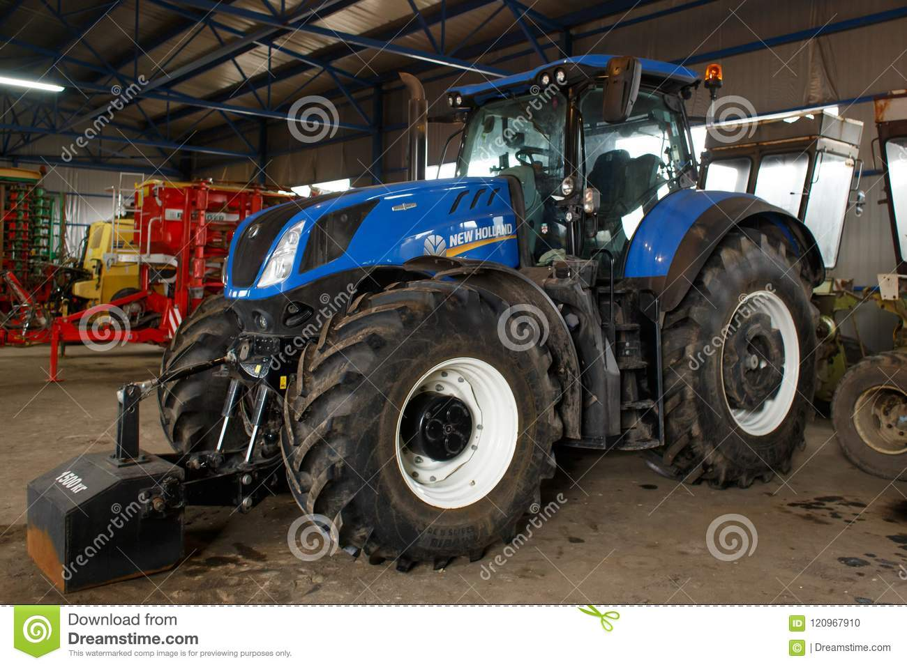 LVIV UKRAINE MARCH 16 2018: Tractor New Holland T7 Series T7.315. Space for text. New Holland Machine Company was founded in 1895