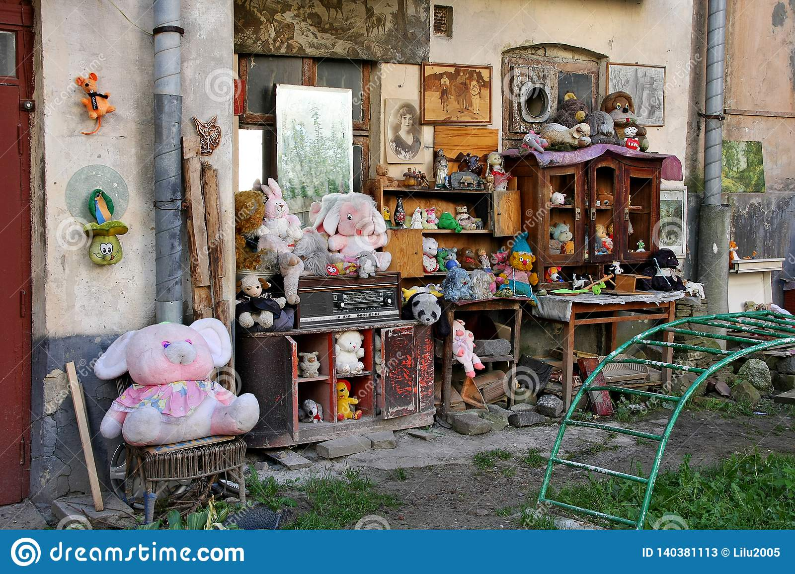 LVIV, Ukraine - SEPTEMBER 28, 2014: The yard of lost toys in Lviv is an open-air museum