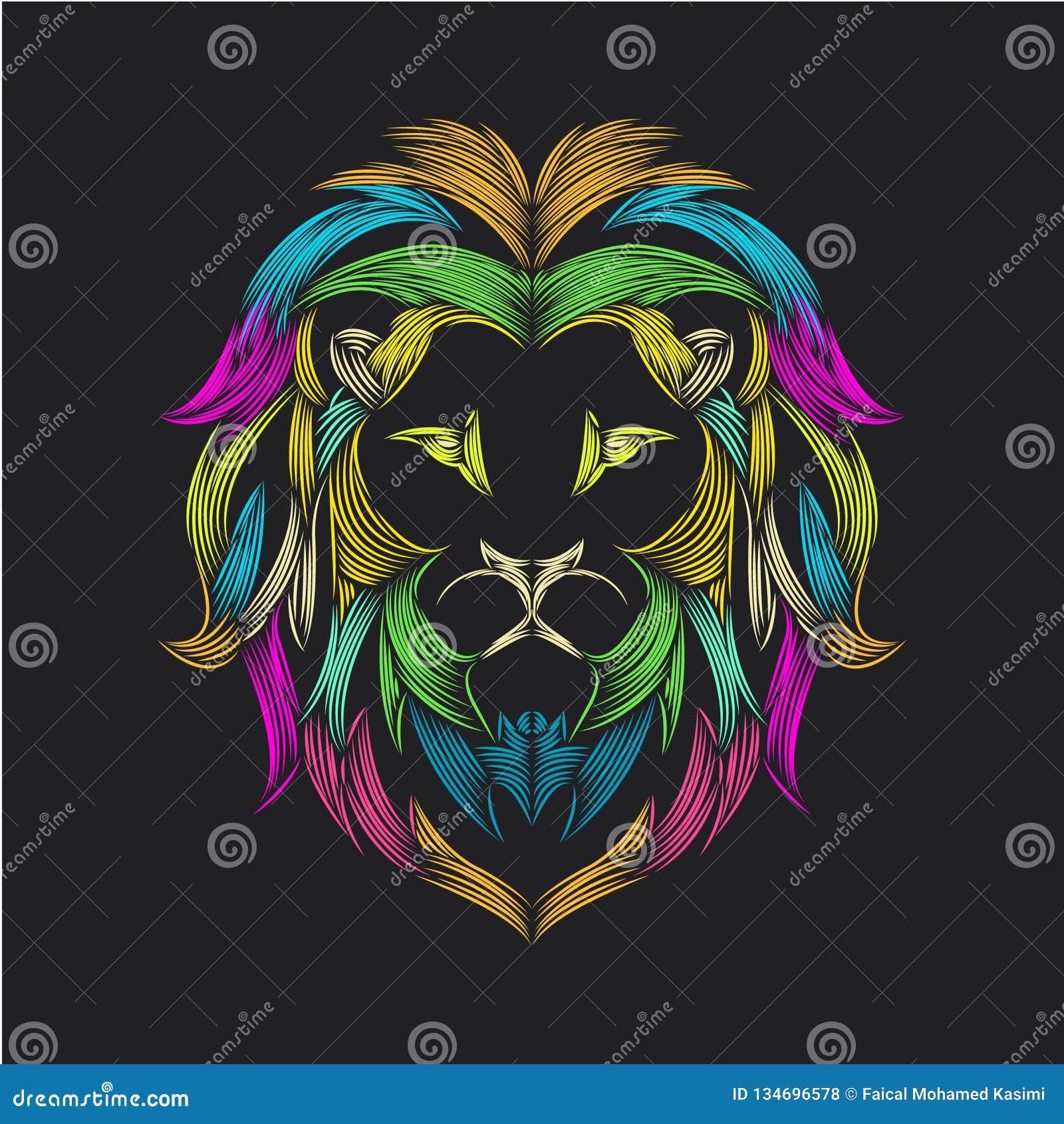 Lwa arte kreskowa ilustracja