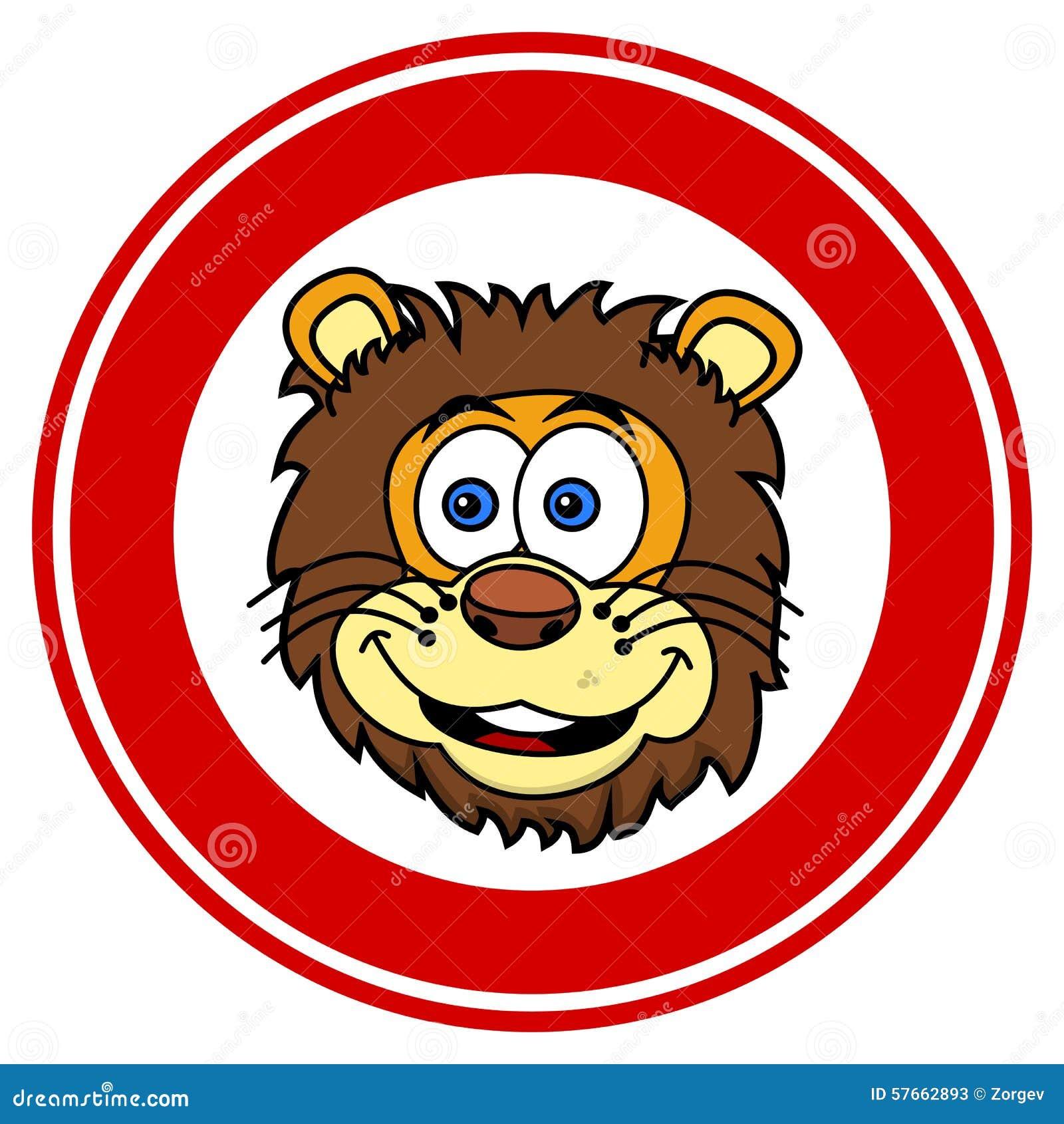 Lwa kierowniczy ono uśmiecha się w sygnalizacyjnym panelu