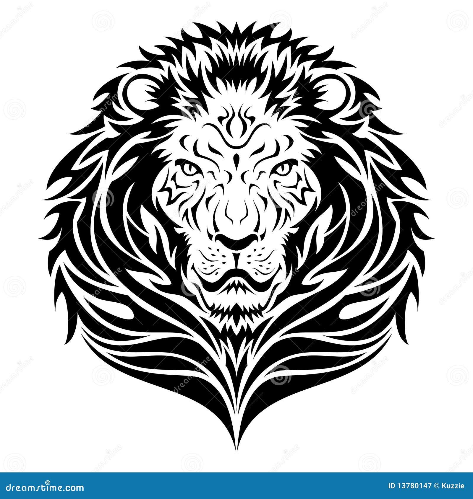 Lwa Kierowniczy Tatuaż Ilustracja Wektor Ilustracja