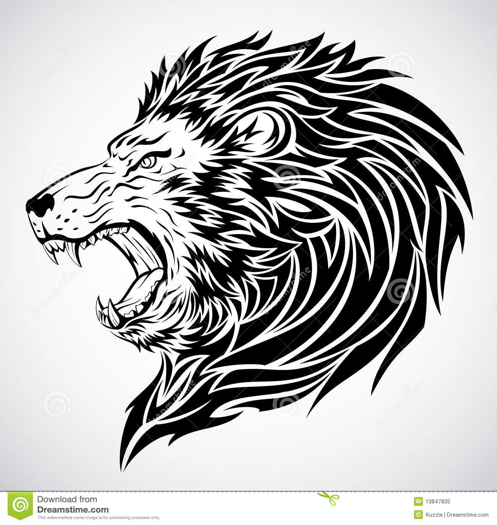 Lwa Poryka Tatuaż Ilustracja Wektor Ilustracja Złożonej Z