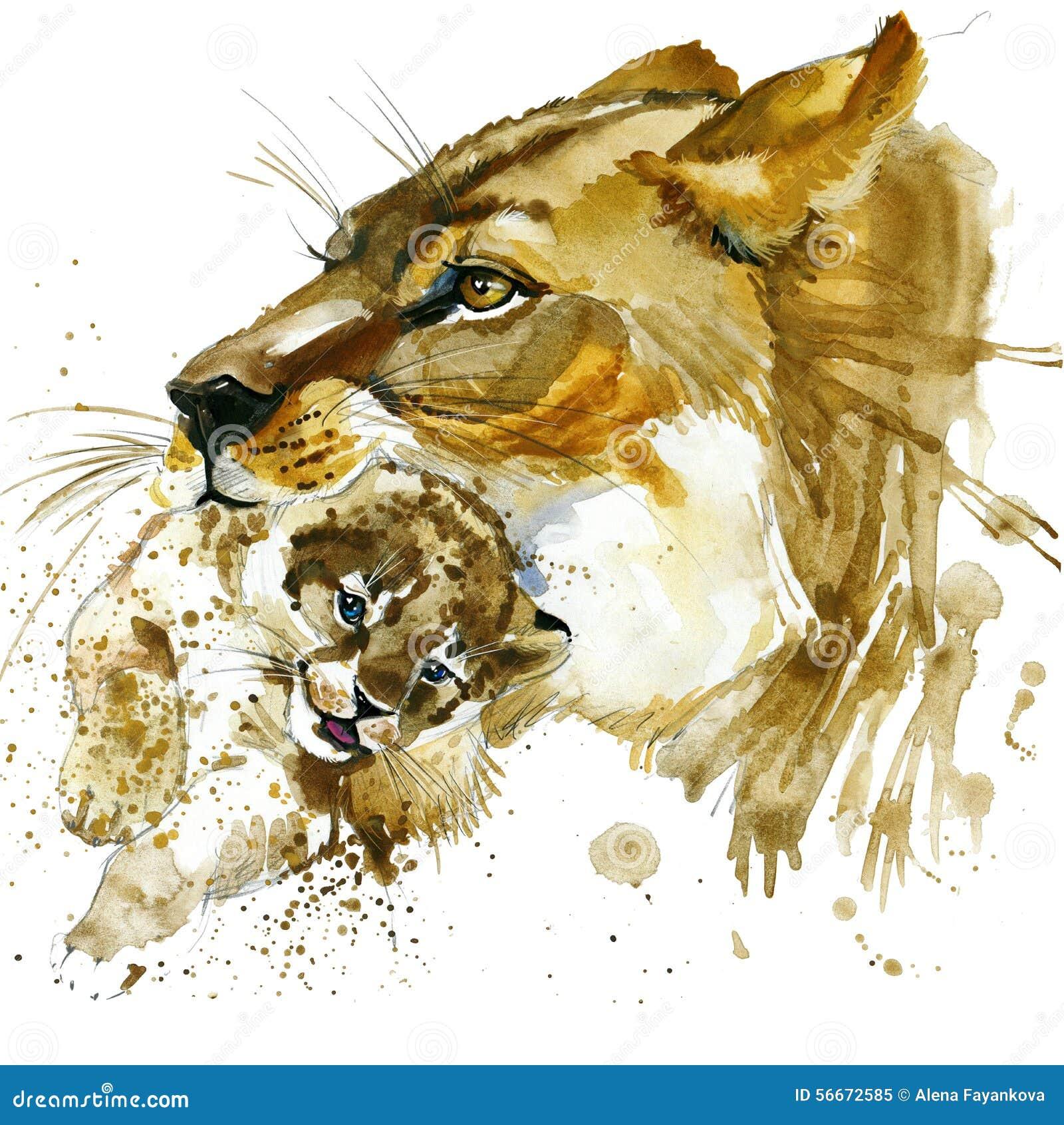 Lwicy i lisiątka koszulki grafika lwicy i lisiątka ilustracja z pluśnięcie akwarelą textured tło niezwykła ilustracja w
