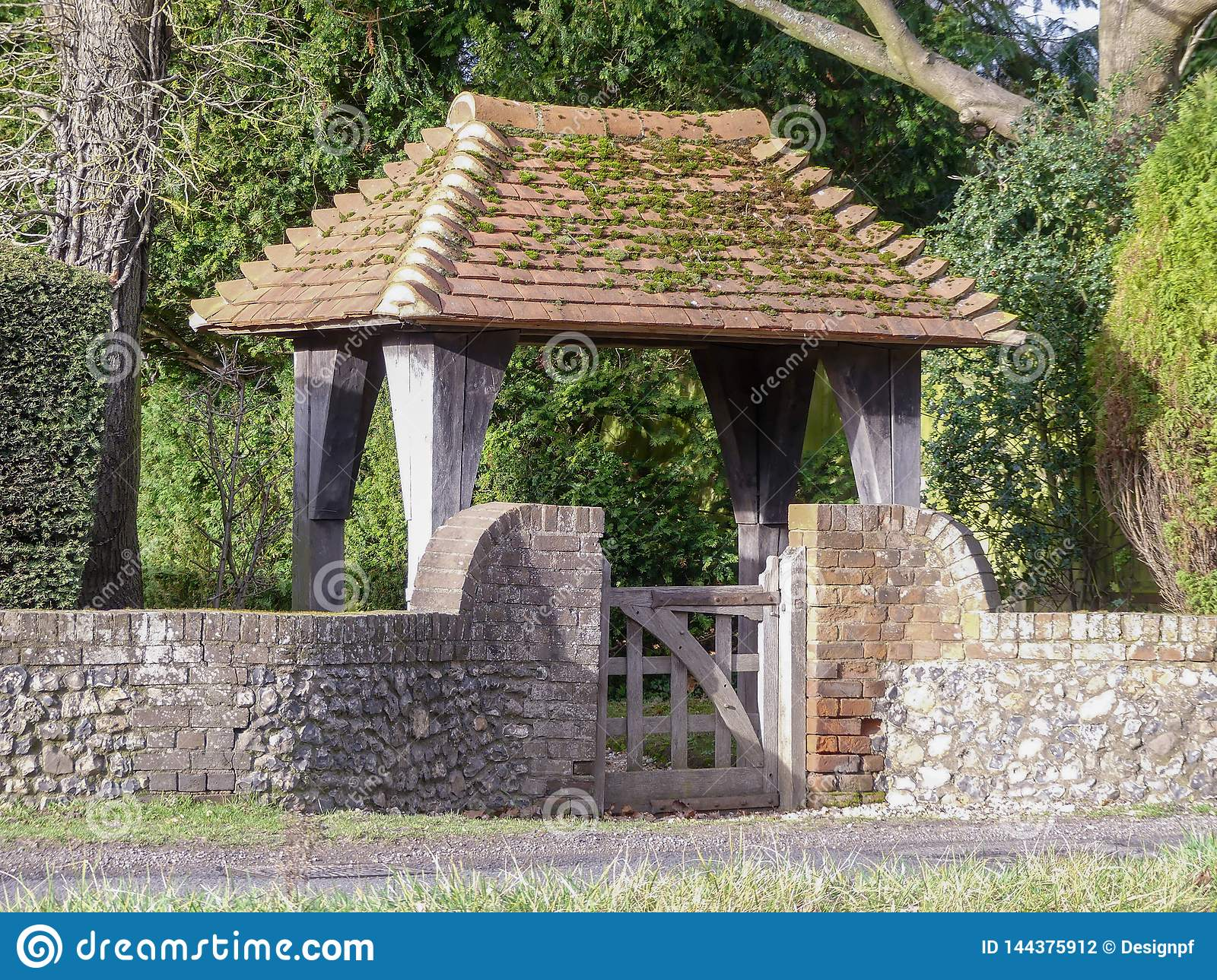 Lych gate style entrance to country house