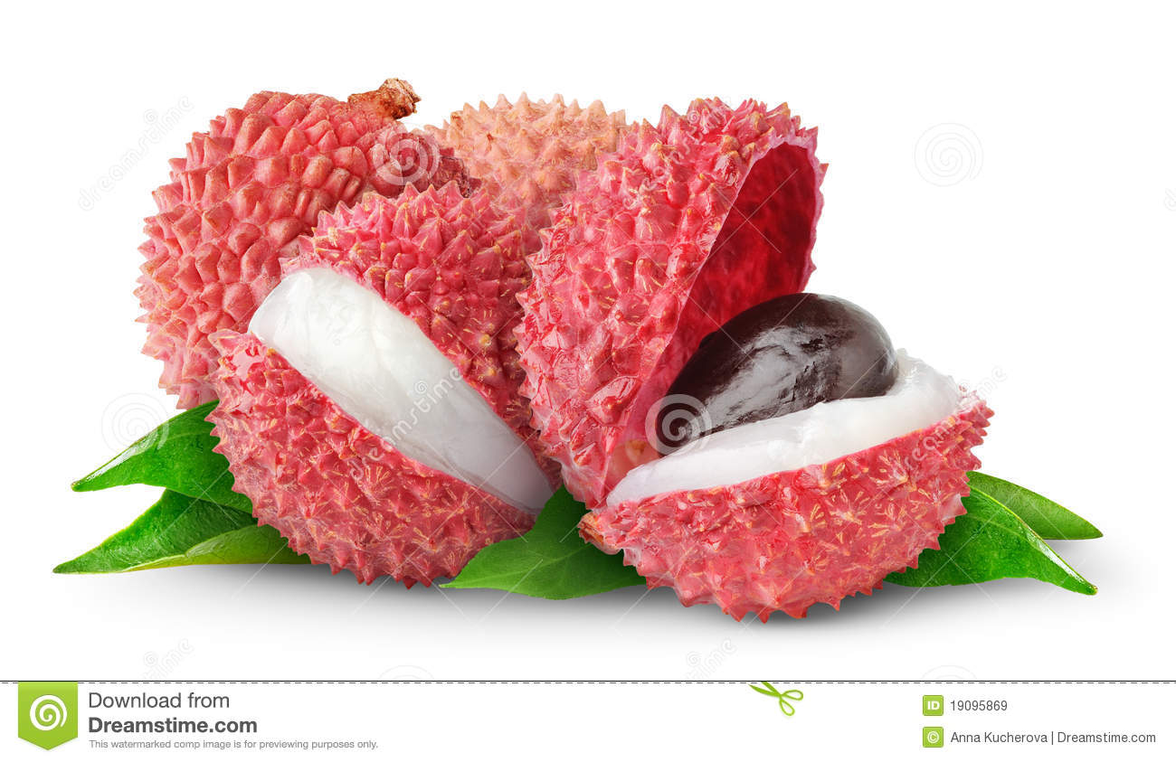 Isolated lychee fruits