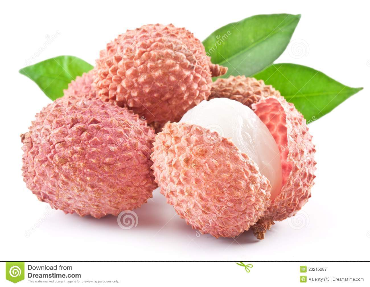 Lychee with leaves