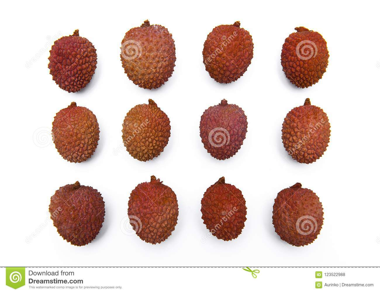 Lychee, Litchi fruits isolated on the white background
