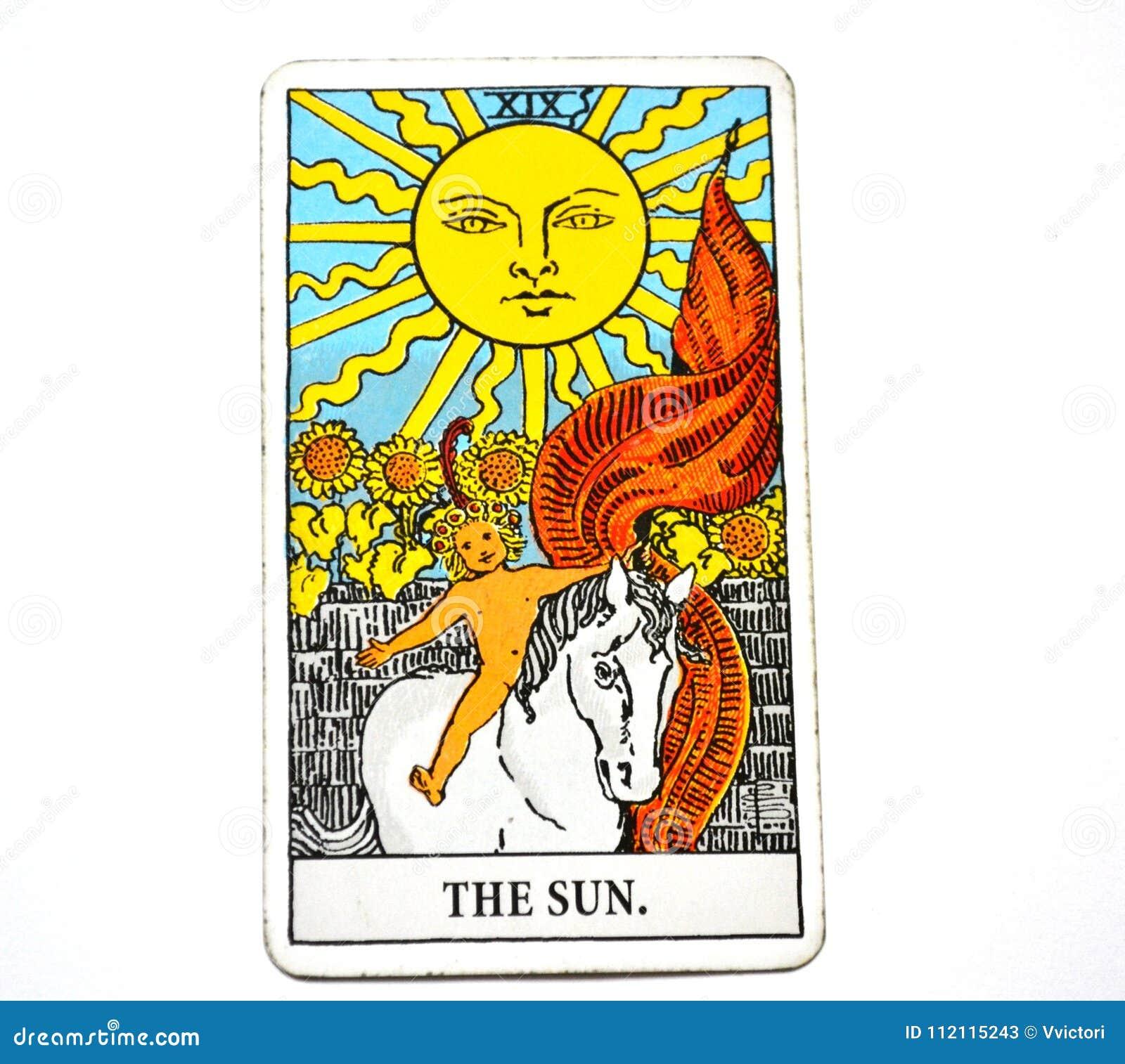 Lycka för manifestation för värme för insikt för glädje för vitalitet för energi för liv för The Sun tarokkort