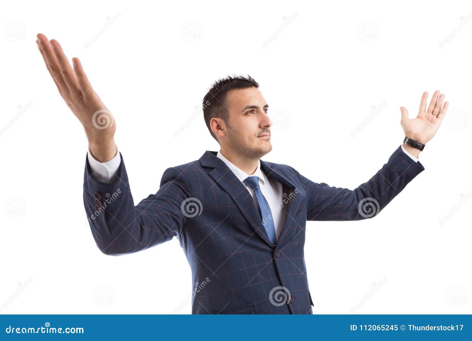 Lyckad vinnareaffärsman eller breda öppna armar för bankir