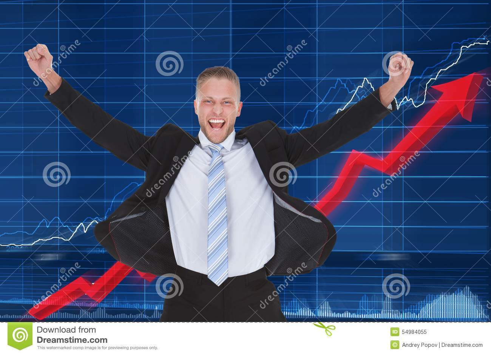 Lycklig affärsman framme av grafen