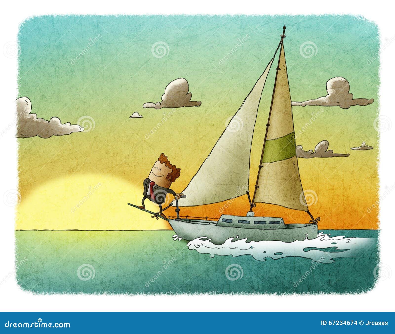 Lycklig affärsmansegling på hans yacht