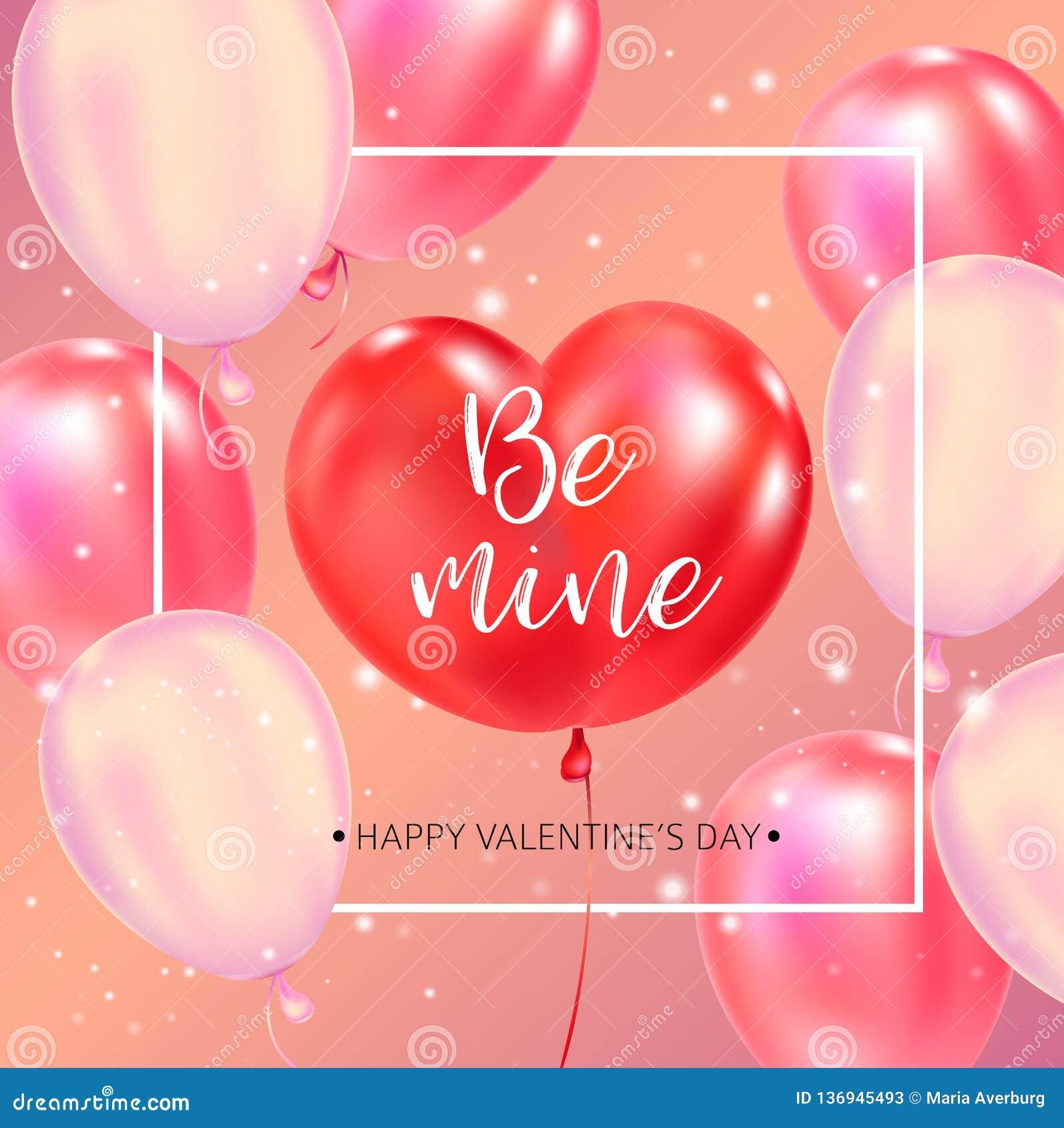 Lycklig affisch för valentindagtypografi med handskriven kalligrafitext