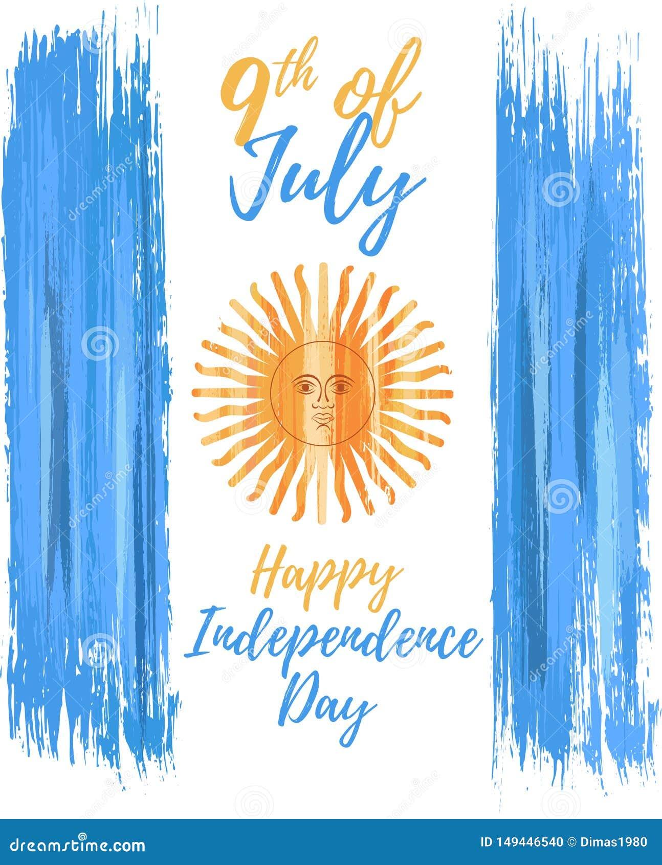 Lycklig Argentina självständighetsdagen 9th Juli