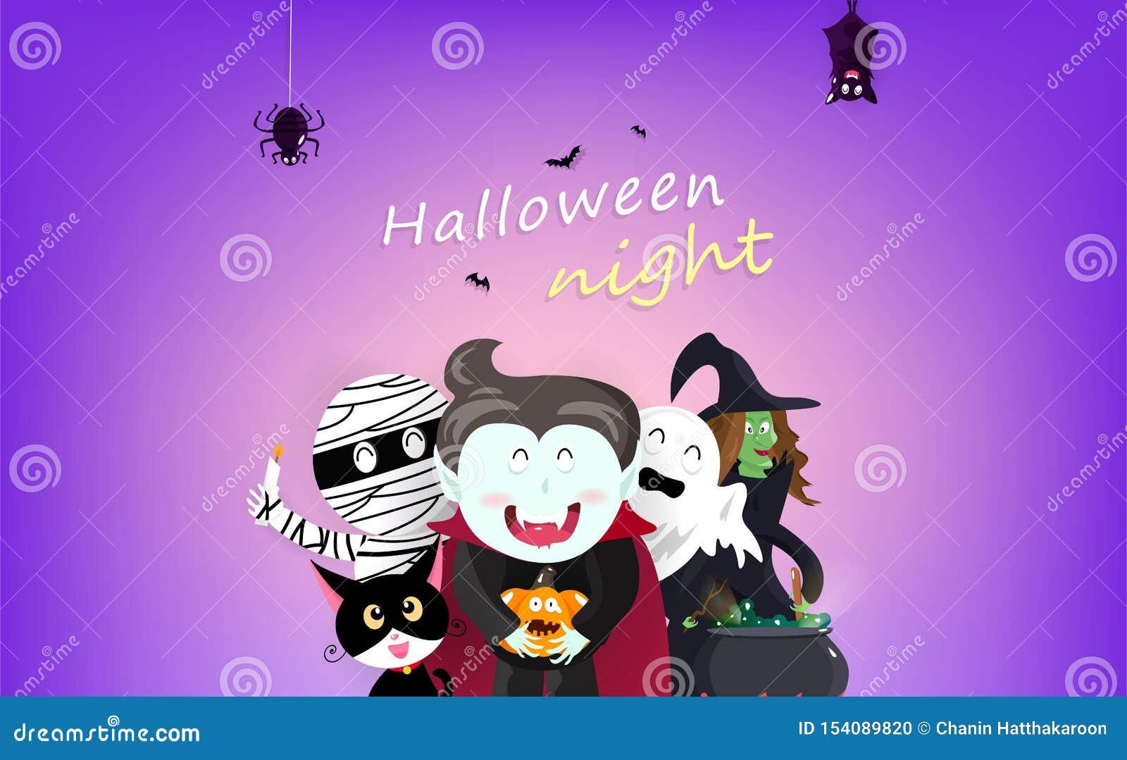 Lycklig bakgrund för allhelgonaafton-, för hälsningkort, nattparti-, vampyr-, häxa-, mamma-, slagträ-, spindel-, katt- och pumpat