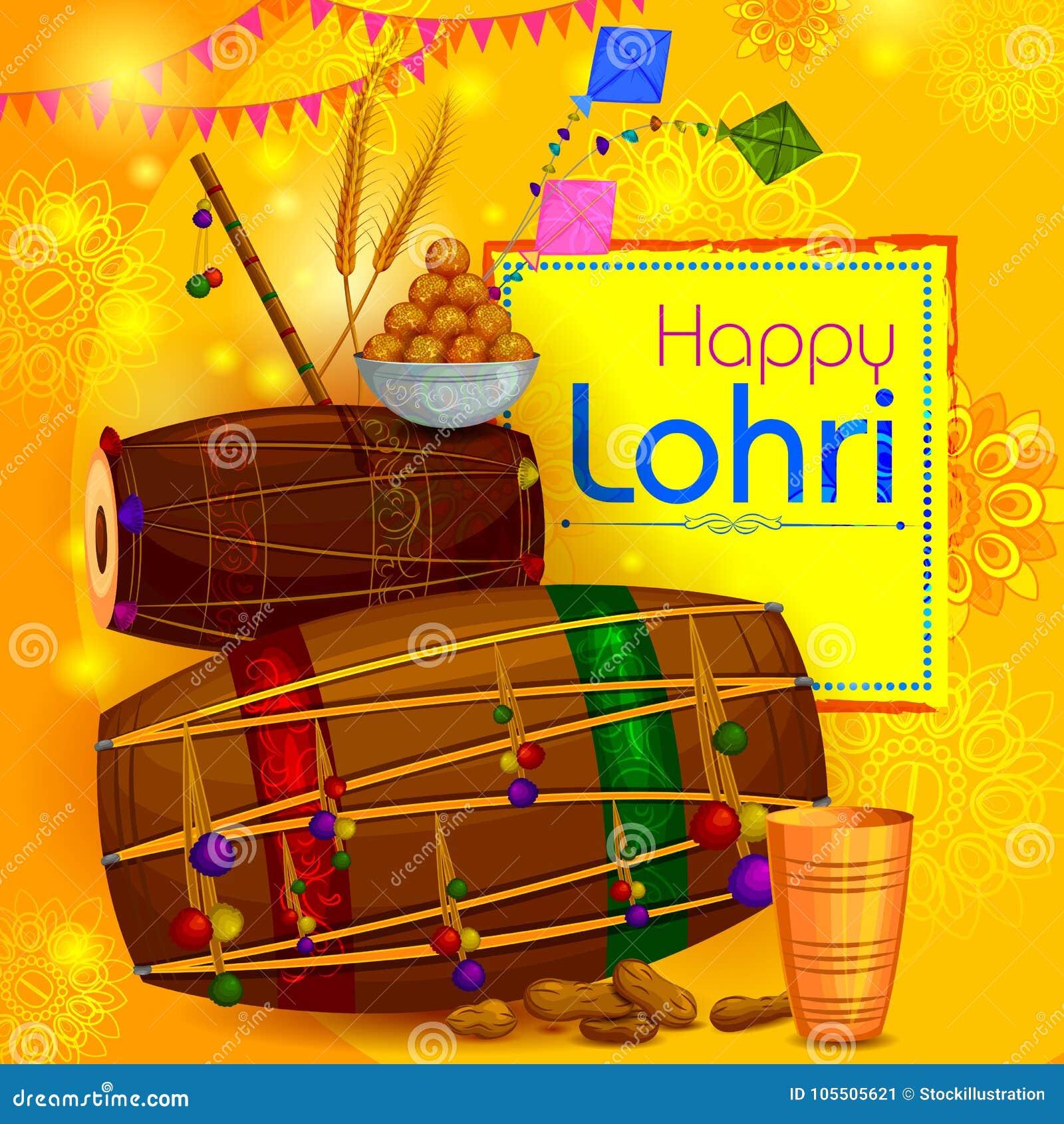 Lycklig bakgrund för religiös ferie för Lohri Punjabi för att skörda festival av Indien