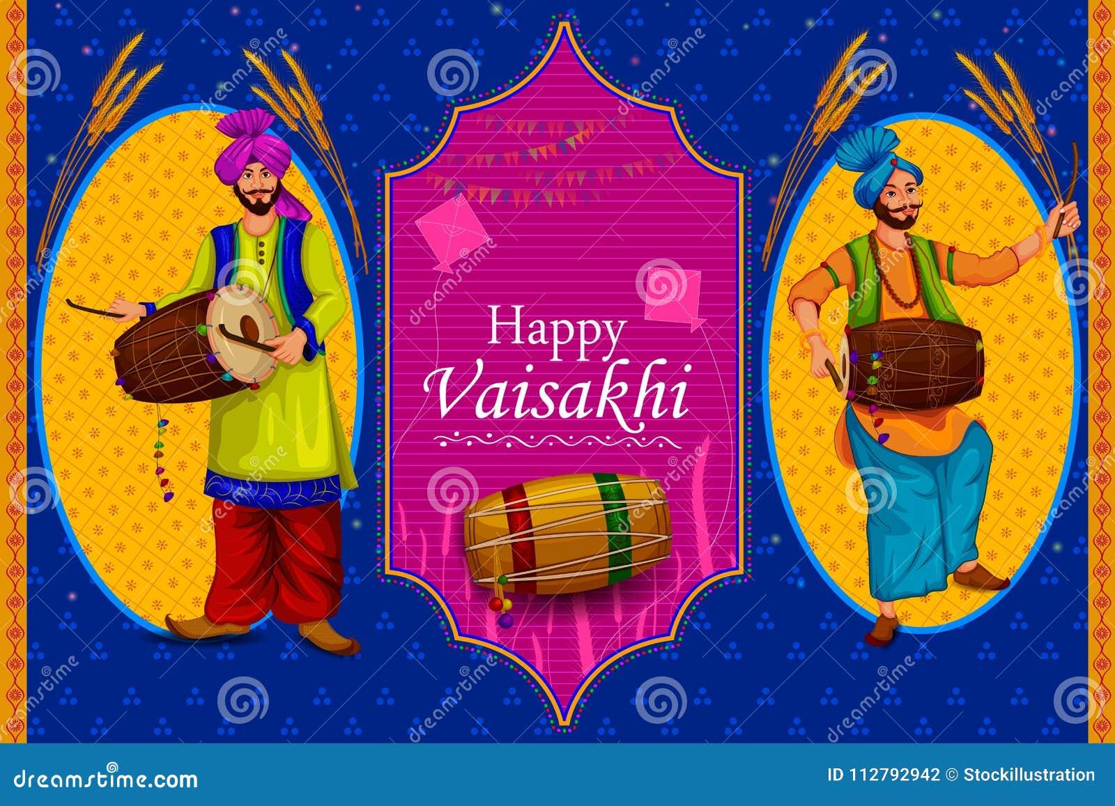 Lycklig bakgrund för religiös ferie för Vaisakhi Punjabi för festival för nytt år av Punjab Indien