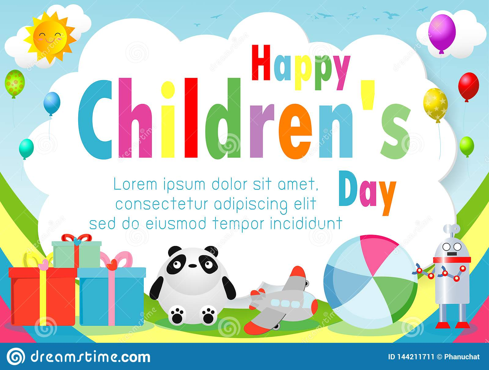 Lycklig barndagbakgrund, barns dagaffisch med den lyckliga ungemallen för annonsering av broschyren din text, vektor