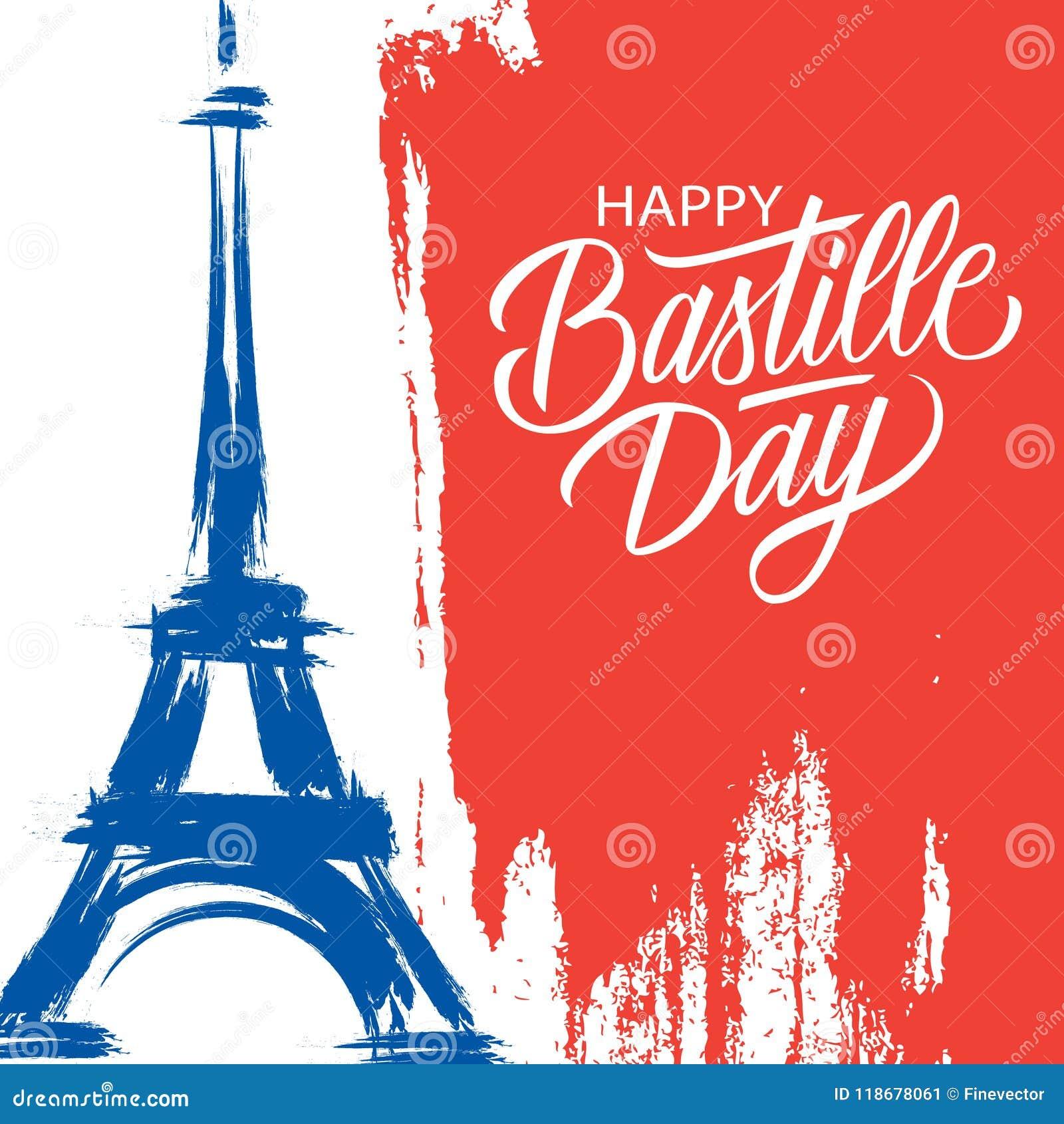 Lycklig Bastilledag 14th av kortet för hälsning för ferie för Juli borsteslaglängd i färger av nationsflaggan av Frankrike med Ei